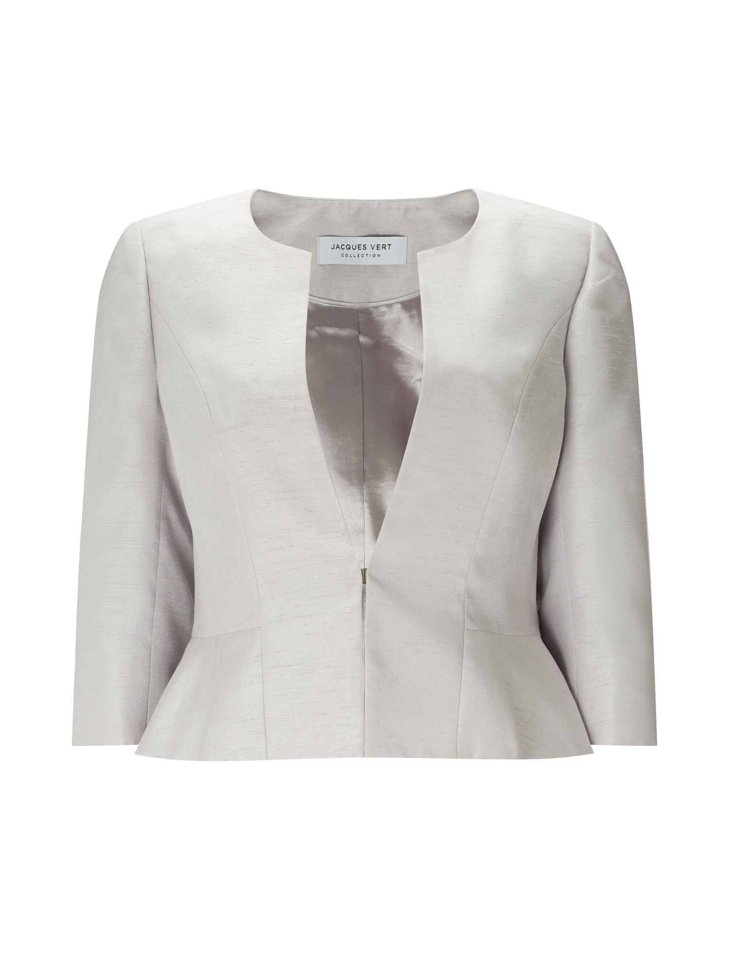 Jacques Vert Erica Shantung Jacket, Light Grey