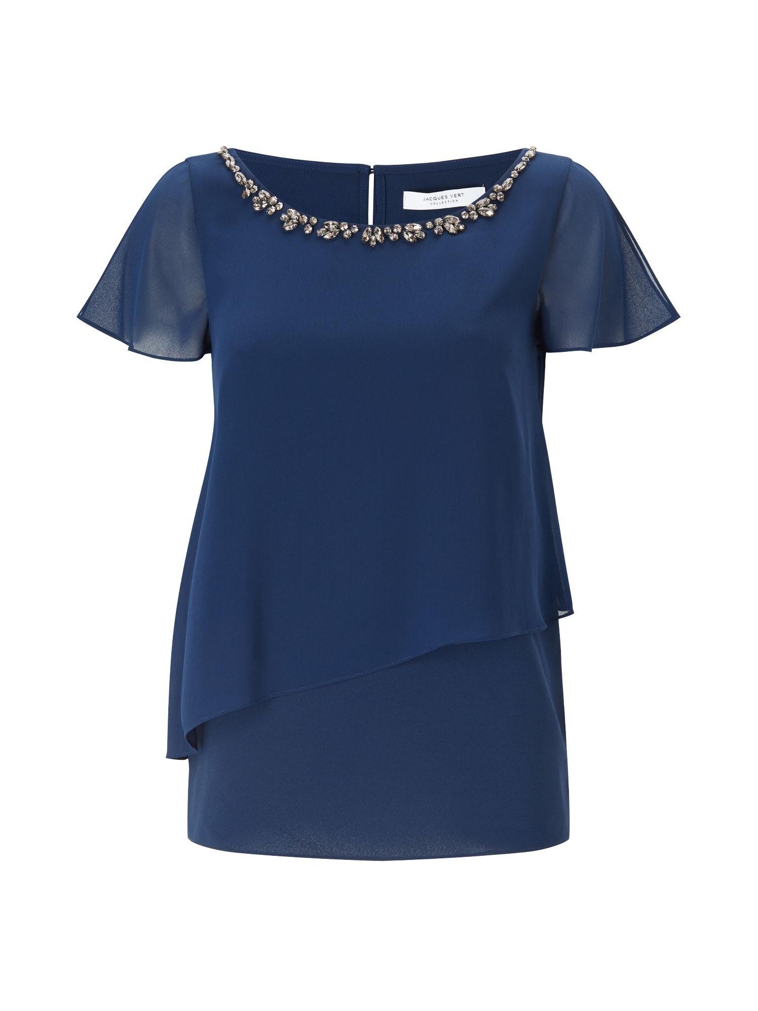 Jacques Vert ZOE EMBELLISH NECK BLOUSE, Blue