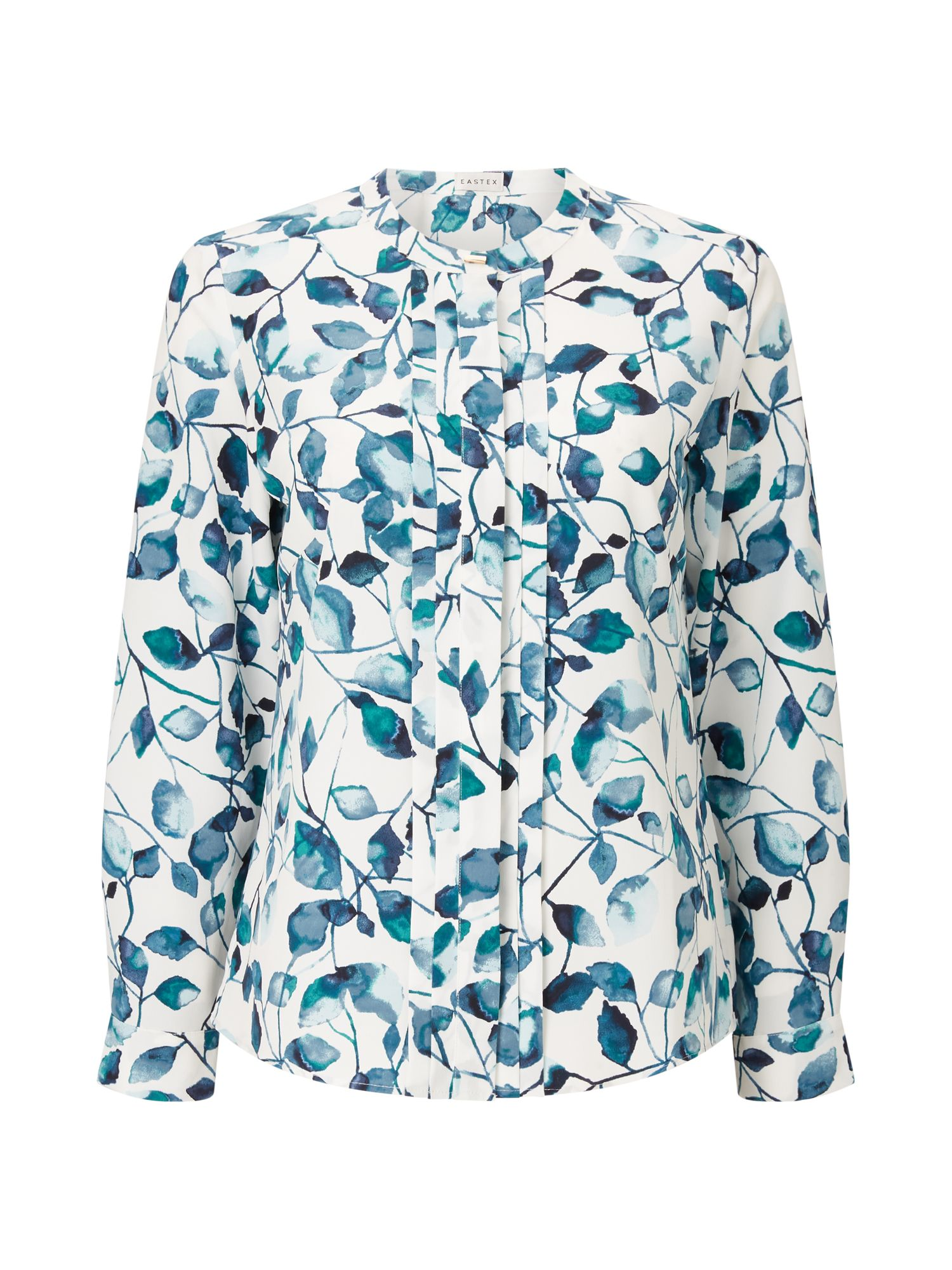 Eastex Inky Leaves Print Blouse, Multi-Coloured