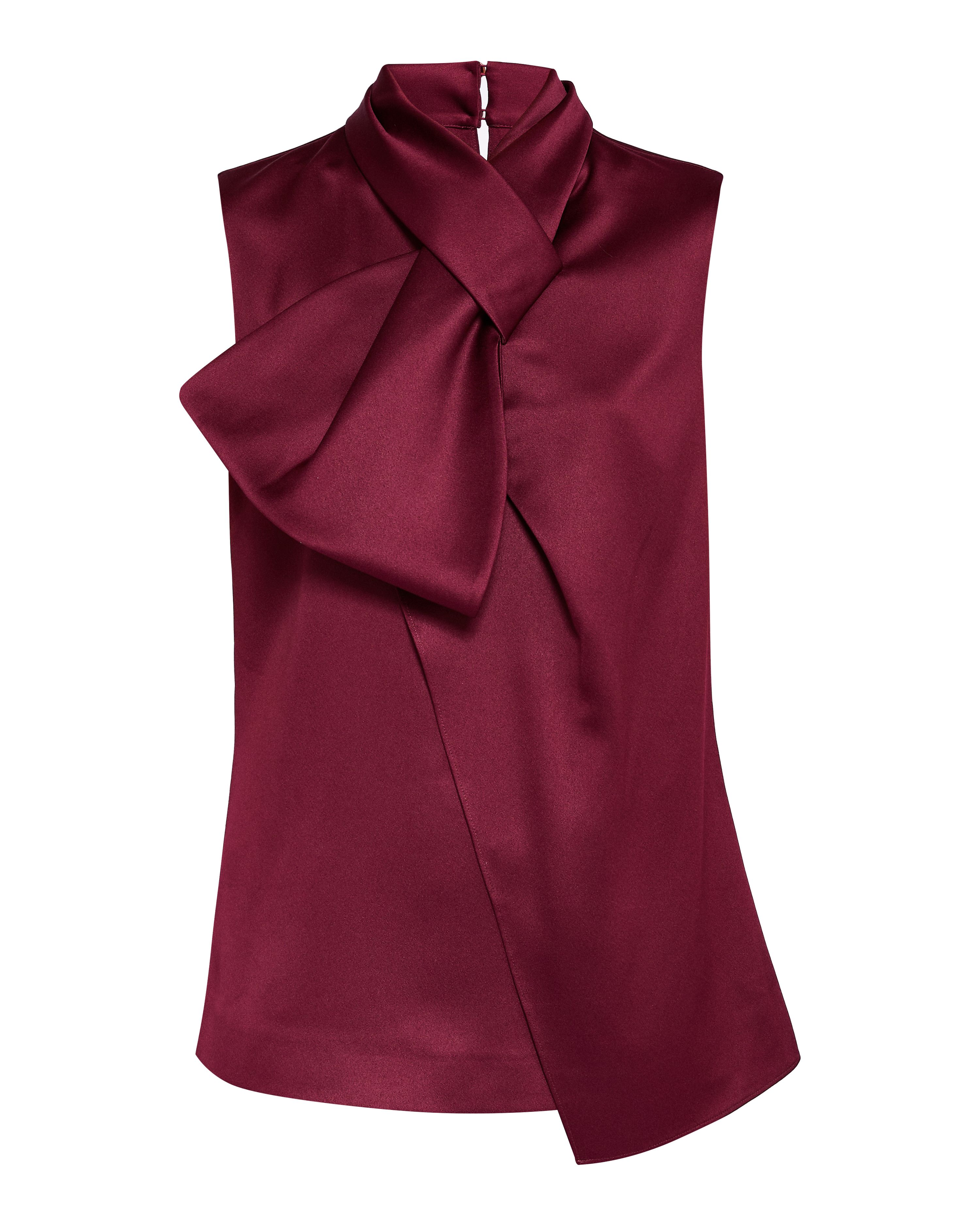 Ted Baker Kristaa Twisted Bow Neck Top, Maroon