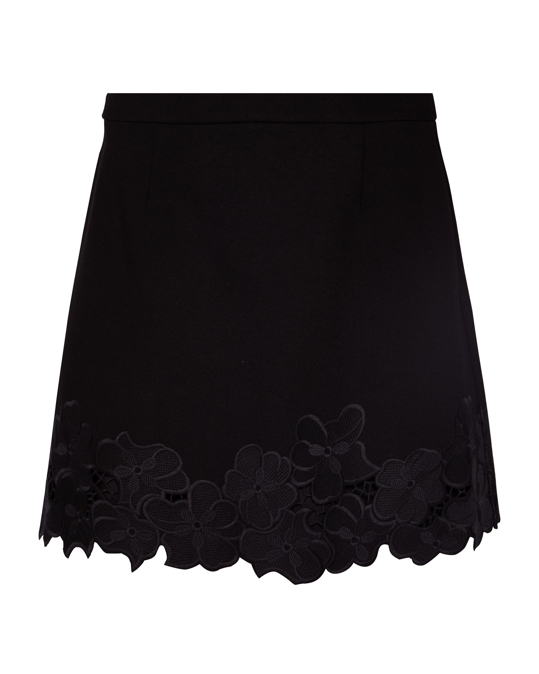 Ted Baker Magolia Lace Embroidered Hem Mini Skirt, Black