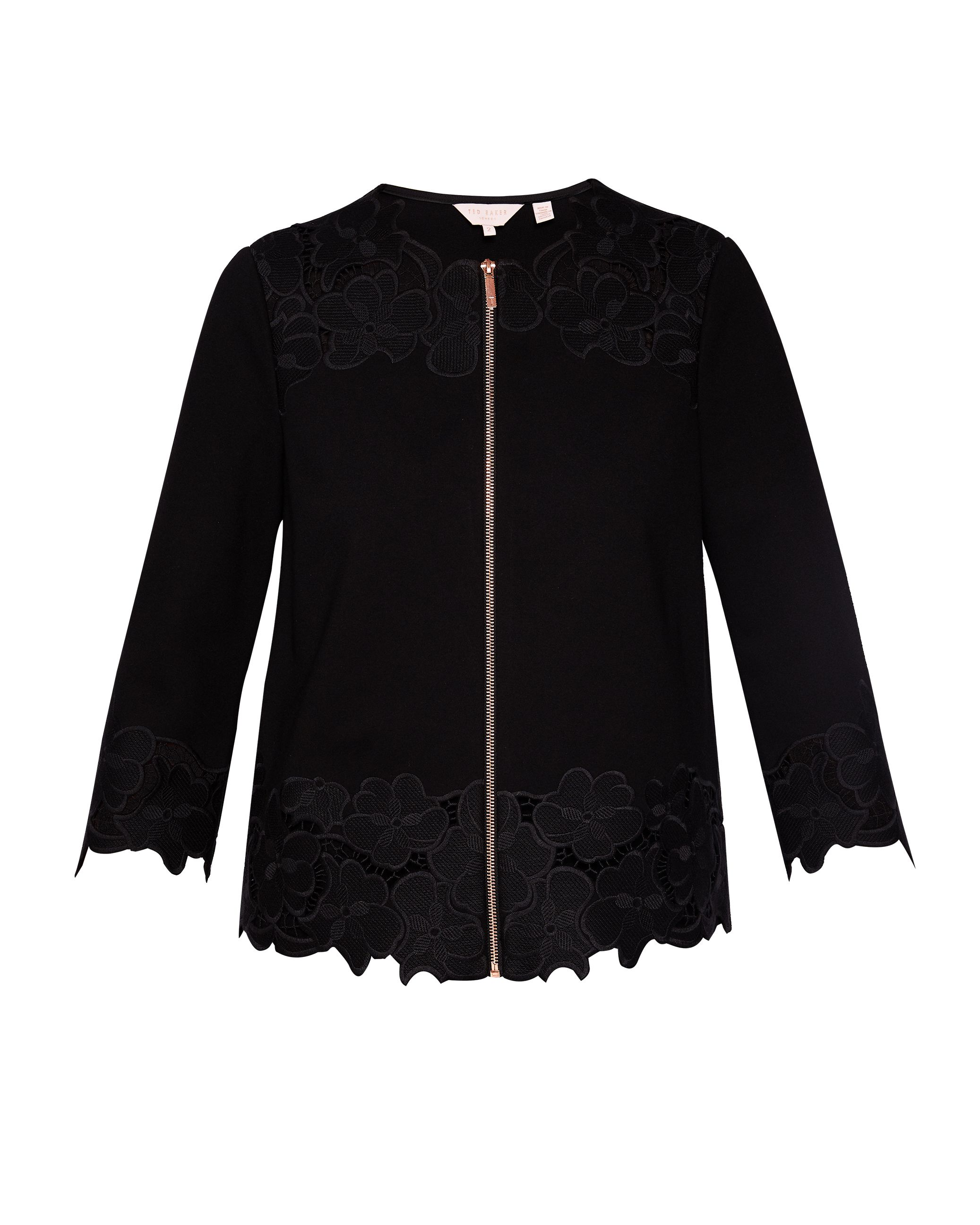 Ted Baker Pamluh Embroidered Crop Sleeve Jacket, Black