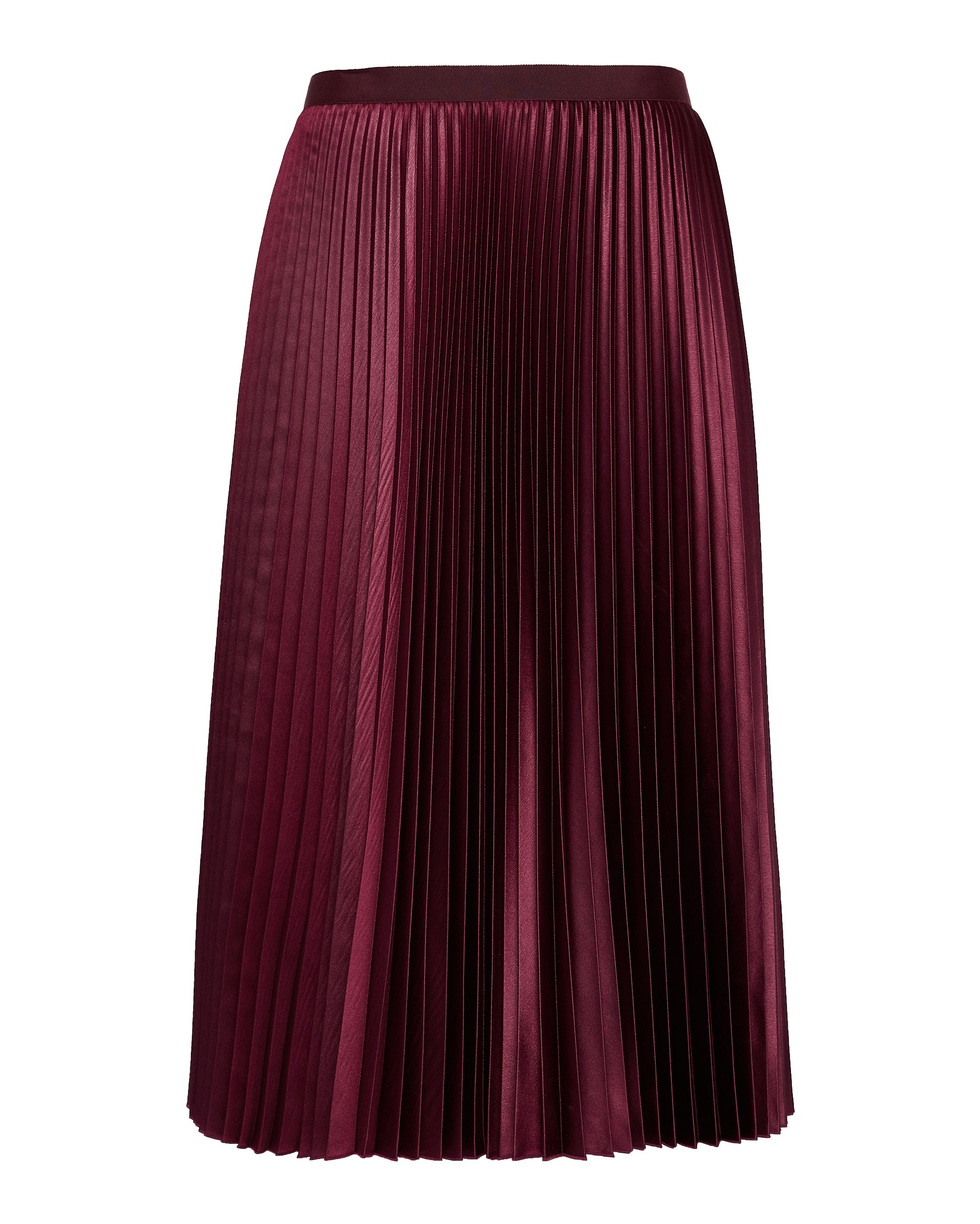 Ted Baker Pleated Midi Skirt, Maroon