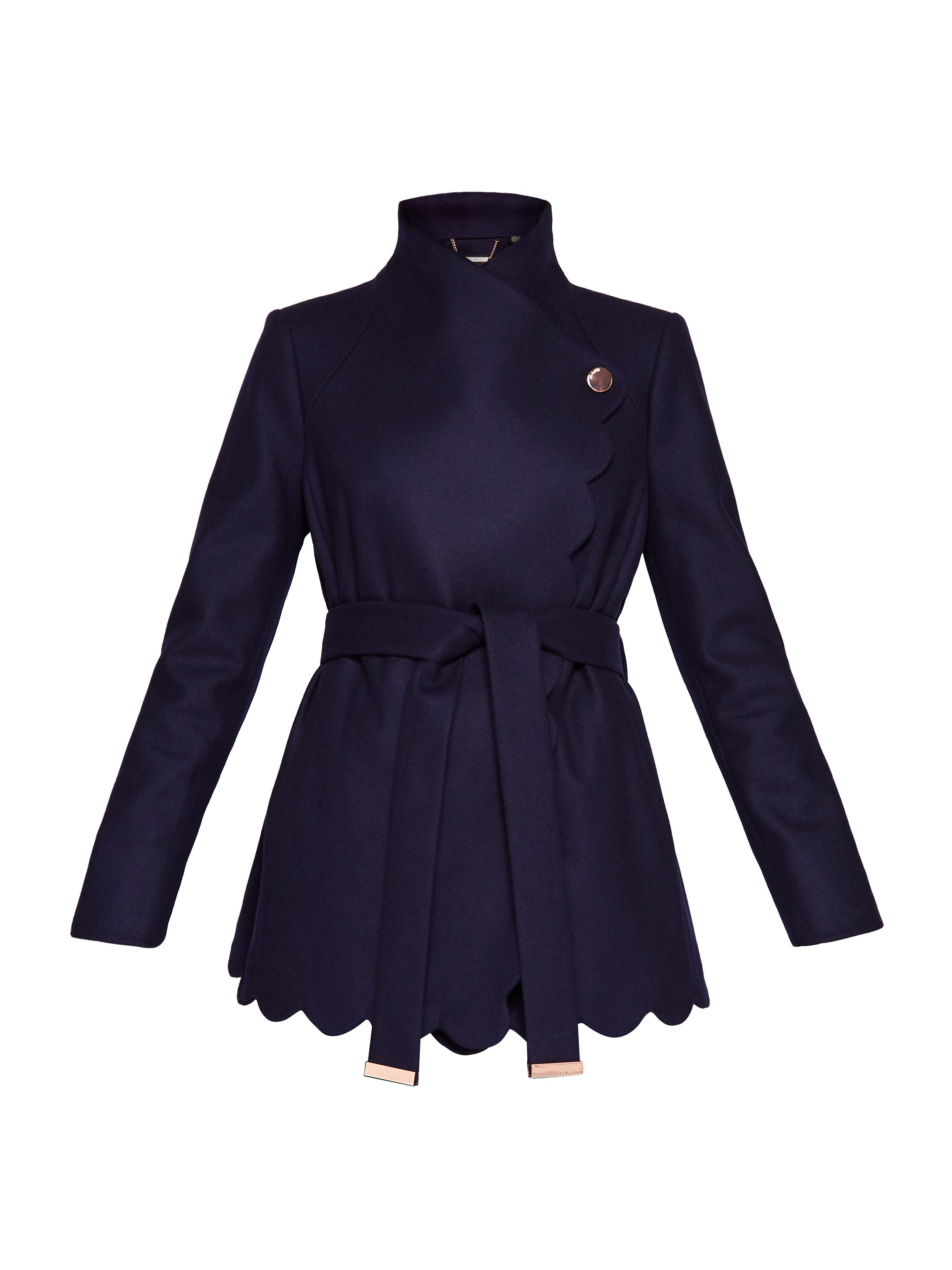 Ted Baker Scallop Detail Wool Wrap Coat, Blue