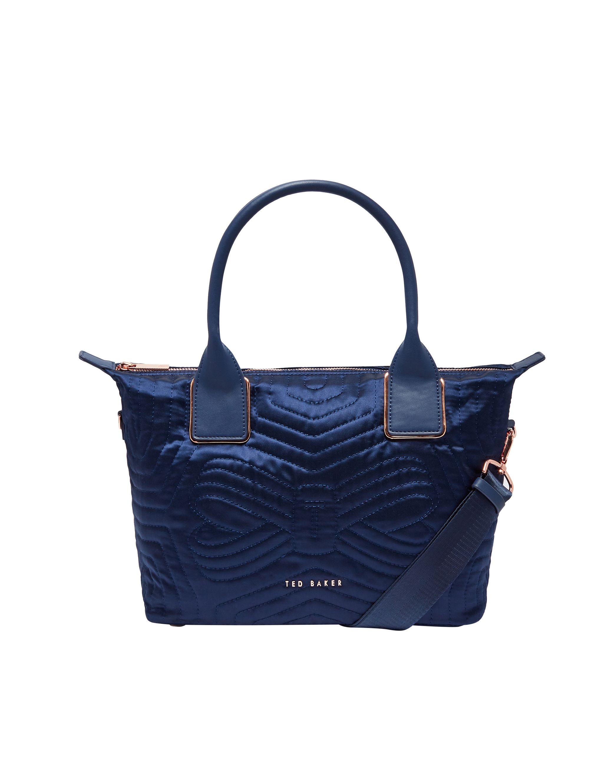 Ted Baker Akebia Quilted Bow Small Nylon Tote Bag, Blue