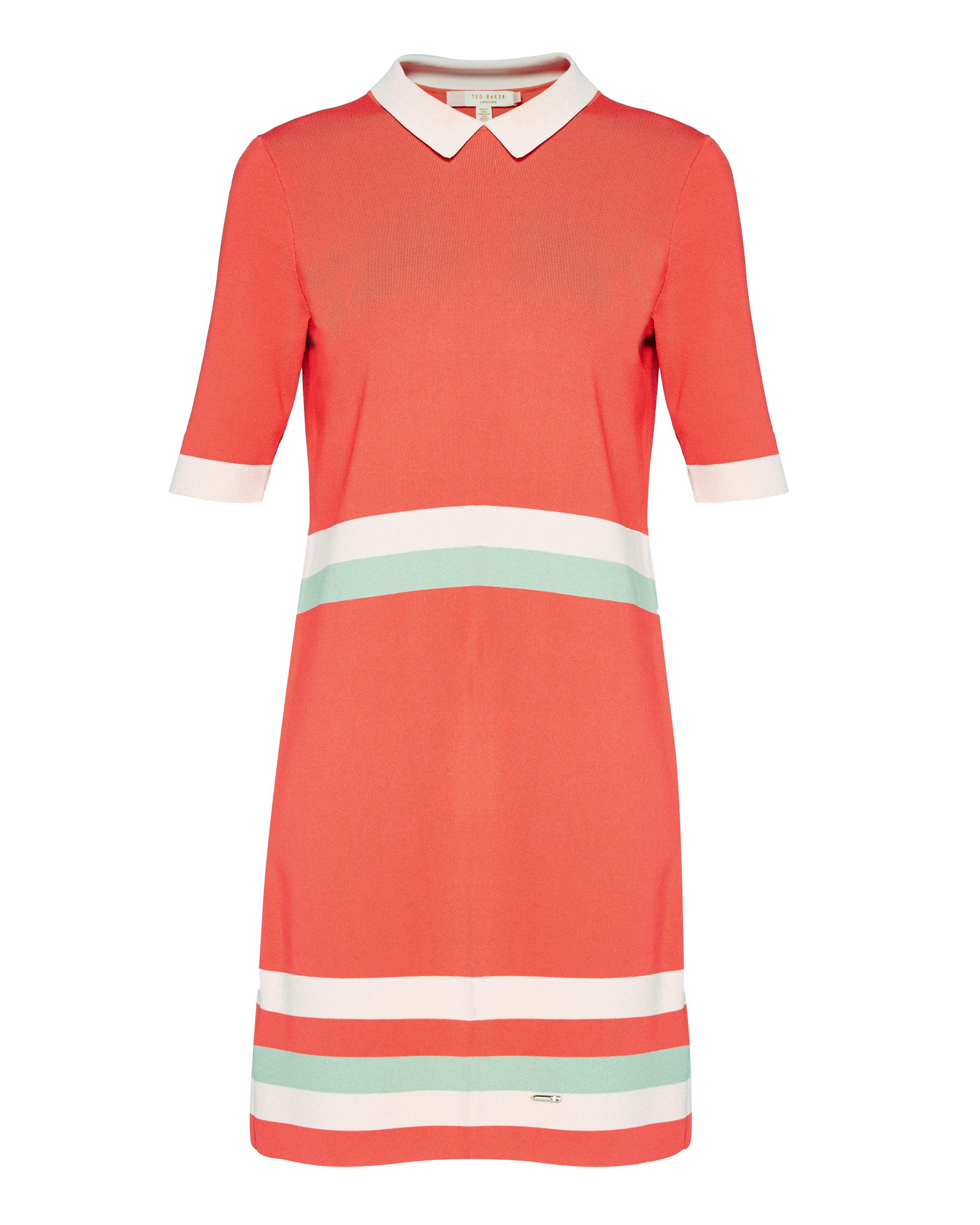 Ted Baker Origami Colour-Block Knitted Dress, Coral