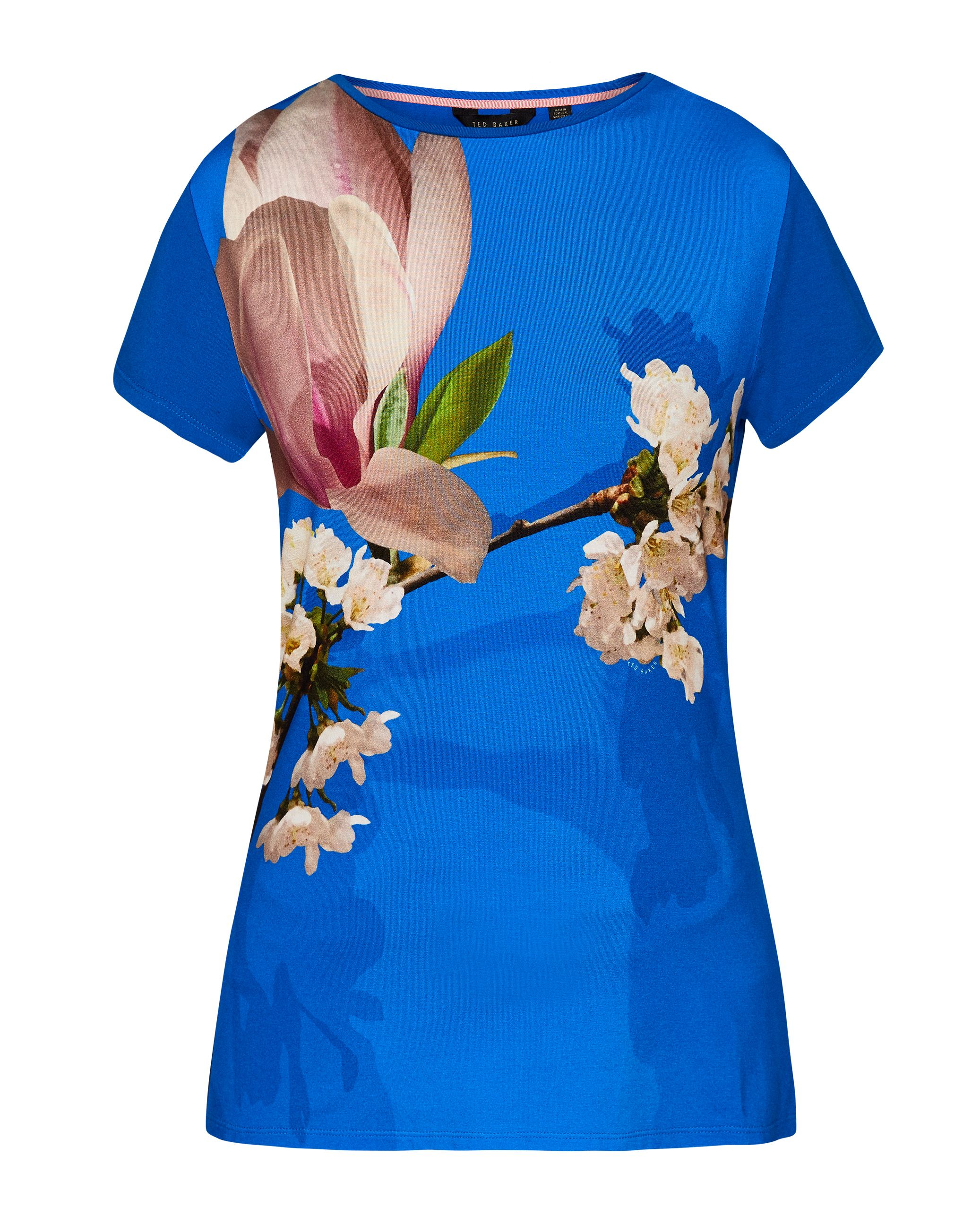 Ted Baker Aeesha Harmony Fitted T-Shirt, Bright Blue