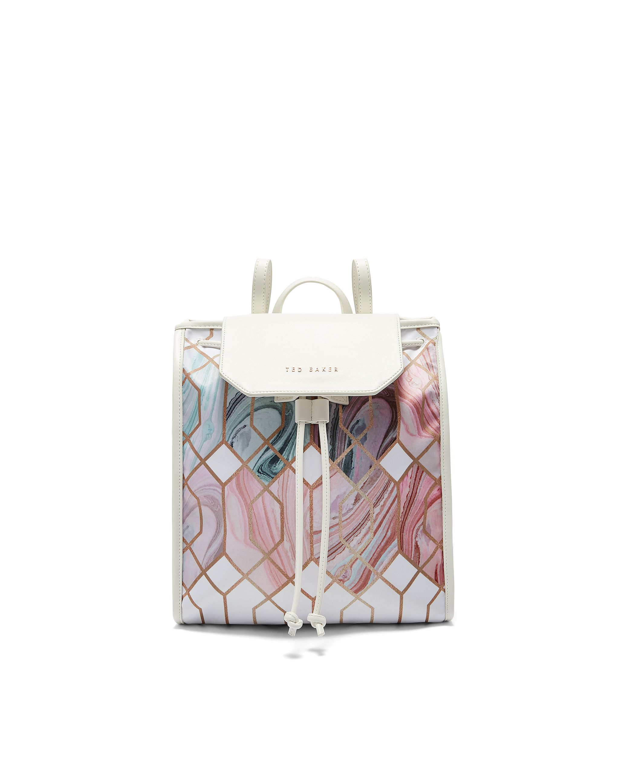 Ted Baker Aalex Sea Of Clouds Drawstring Backpack, White