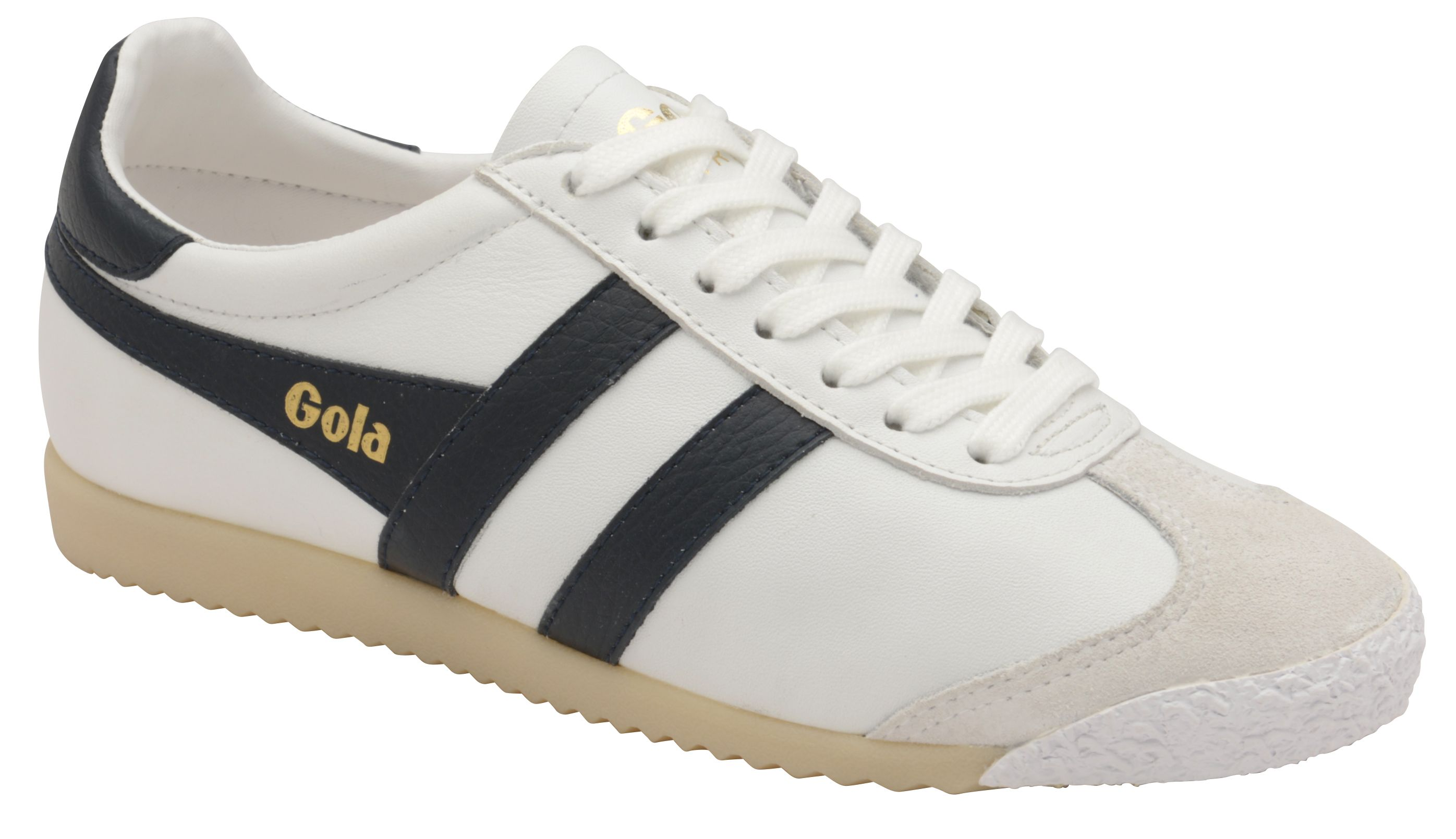 Gola Harrier 50 Leather Lace Up Trainers, White & Blue