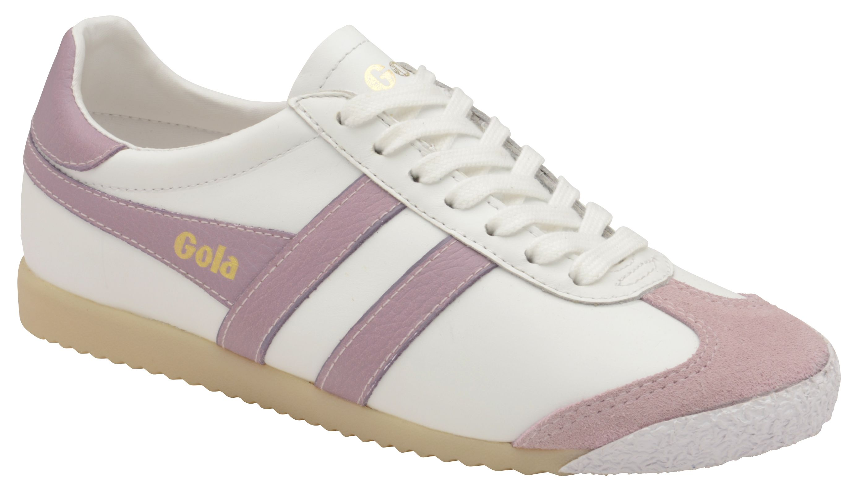 Gola Harrier 50 Leather Lace Up Trainers, Diamond White