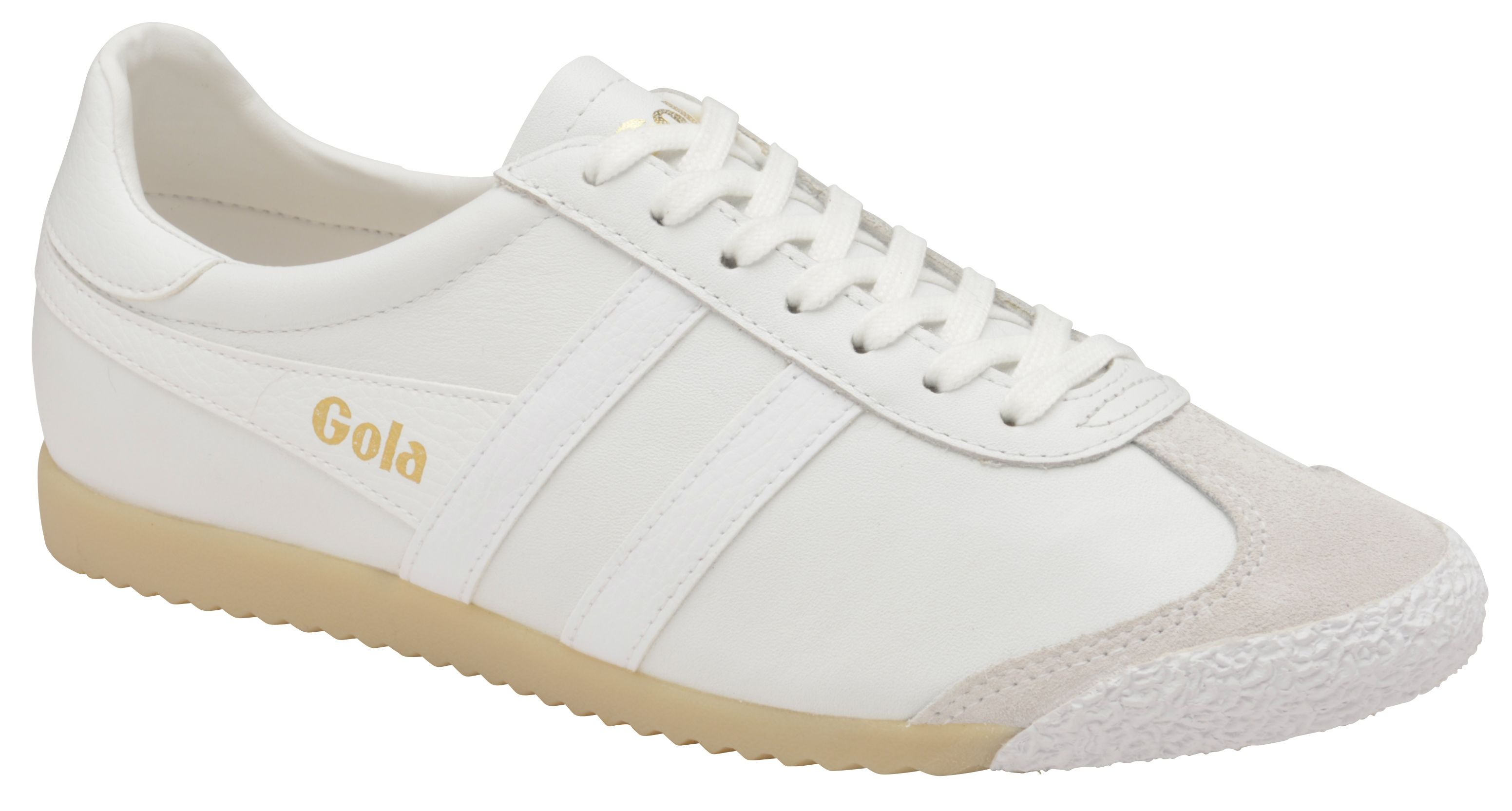 Gola Harrier 50 Leather Lace Up Trainers, Winter White