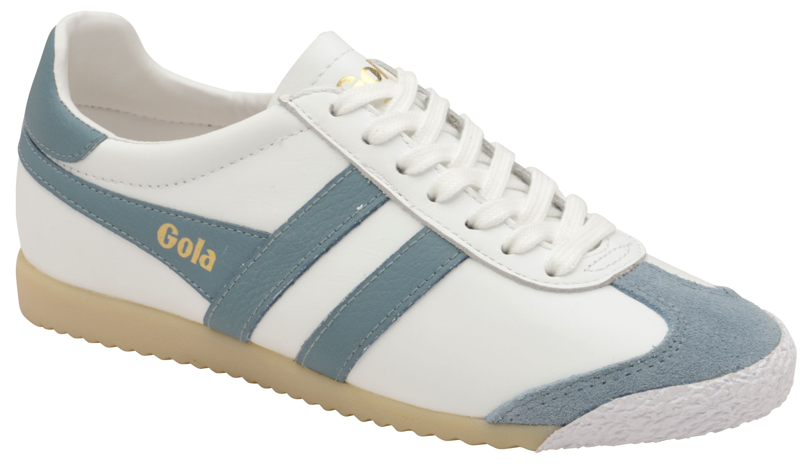 Gola Harrier 50 Leather Lace Up Trainers, Snow