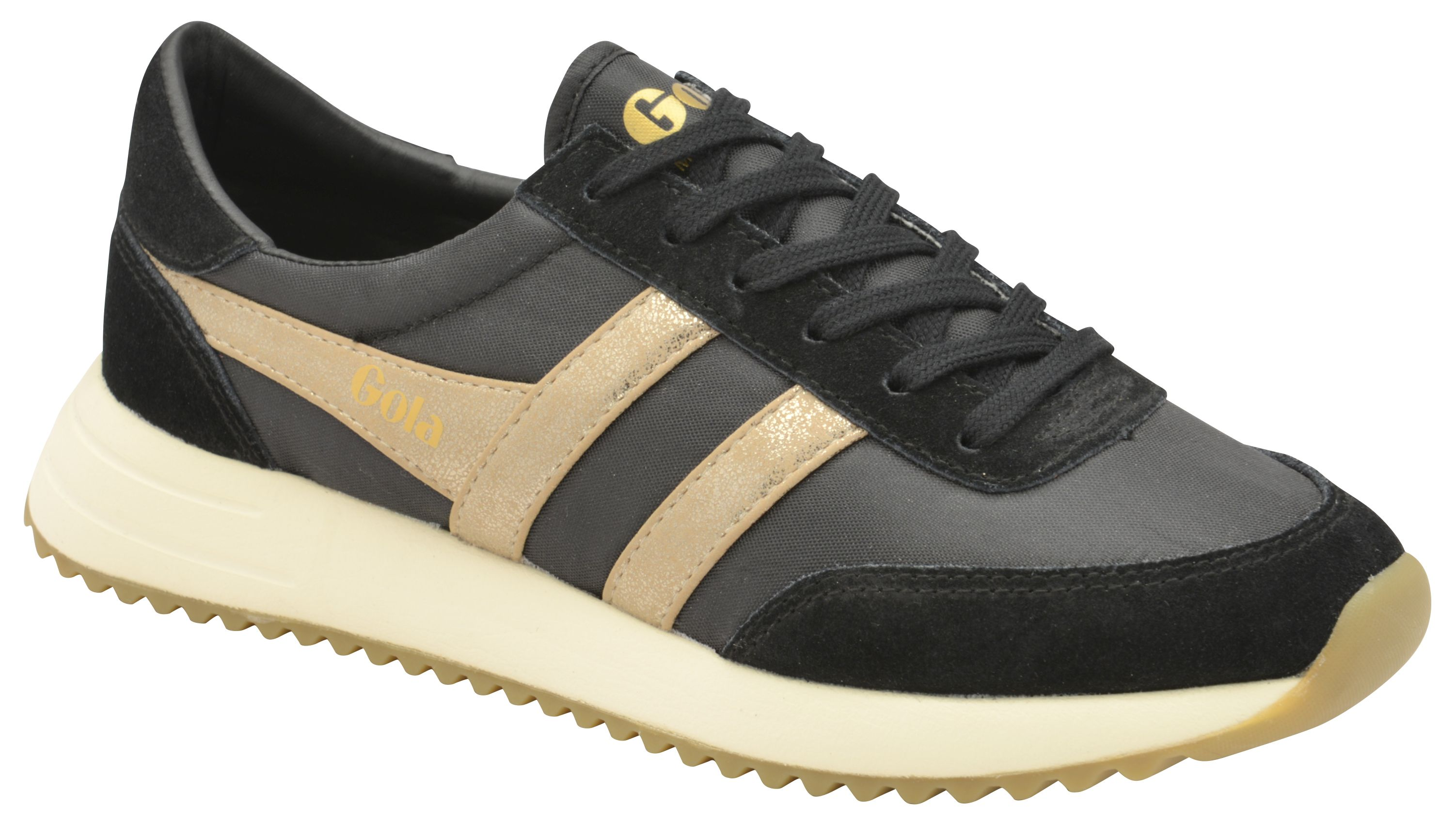 Gola Montreal Mirror Lace Up Trainers, Black