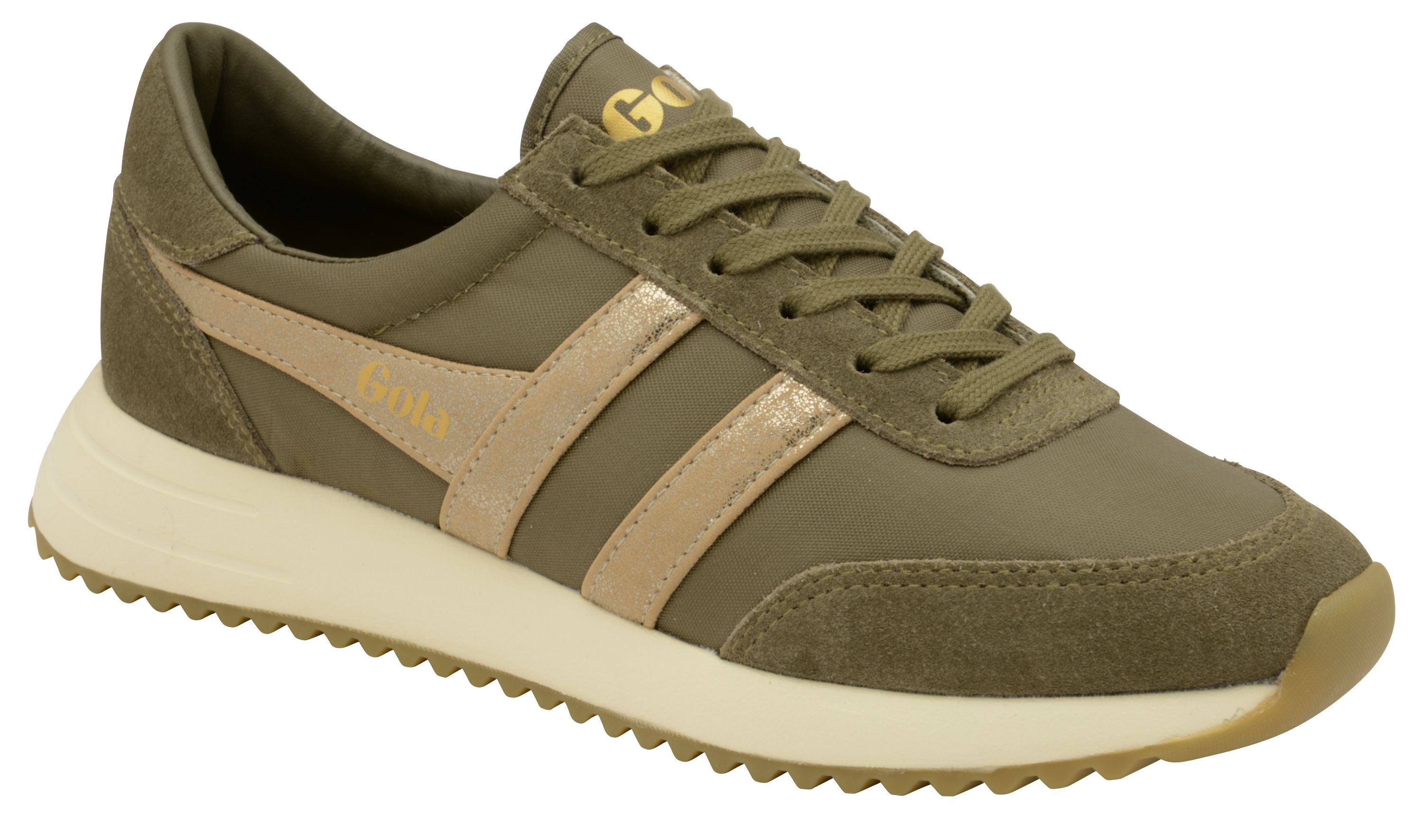 Gola Montreal Mirror Lace Up Trainers, Khaki