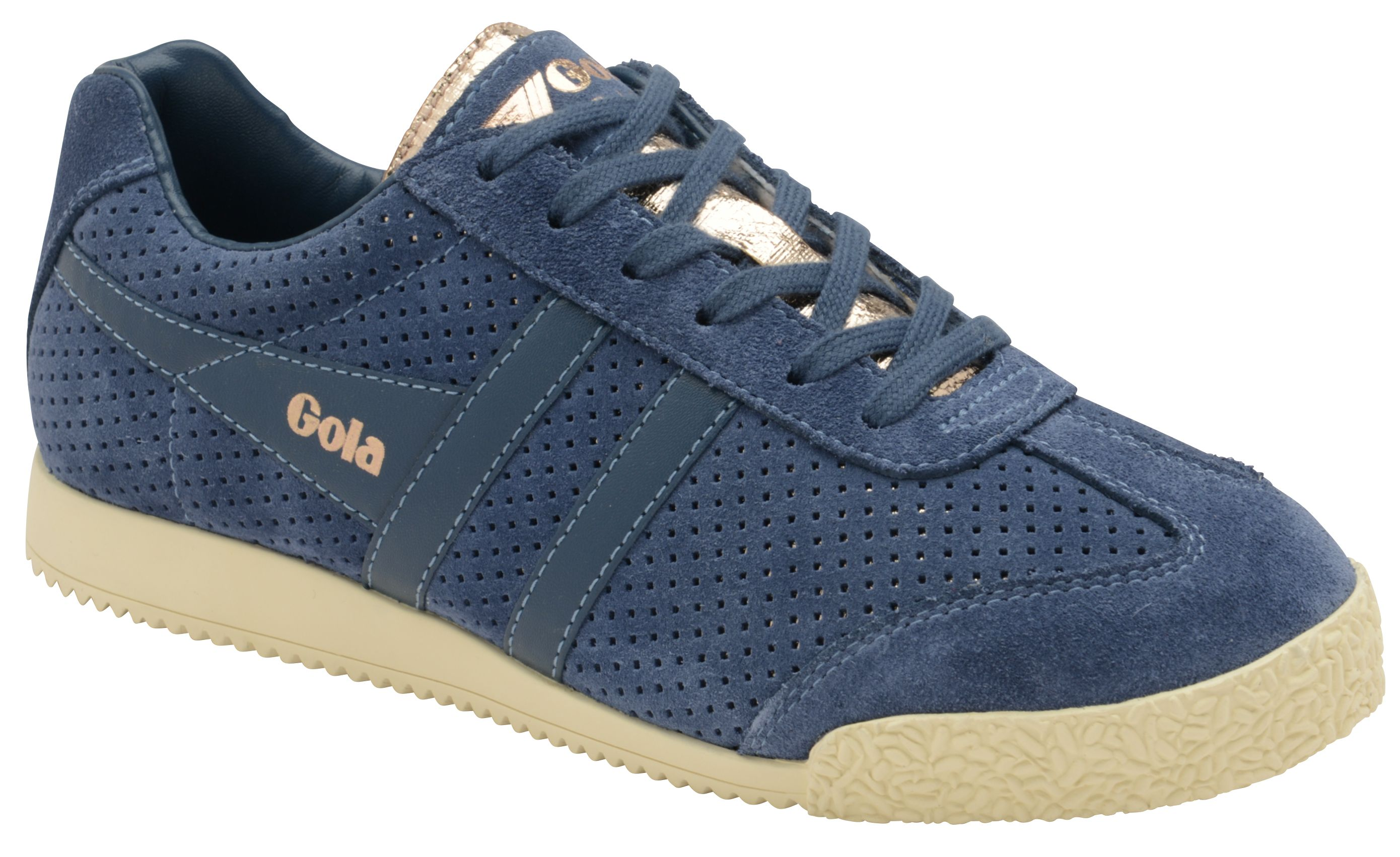 Gola Harrier Glimmer Suede Trainers, Baltic Blue