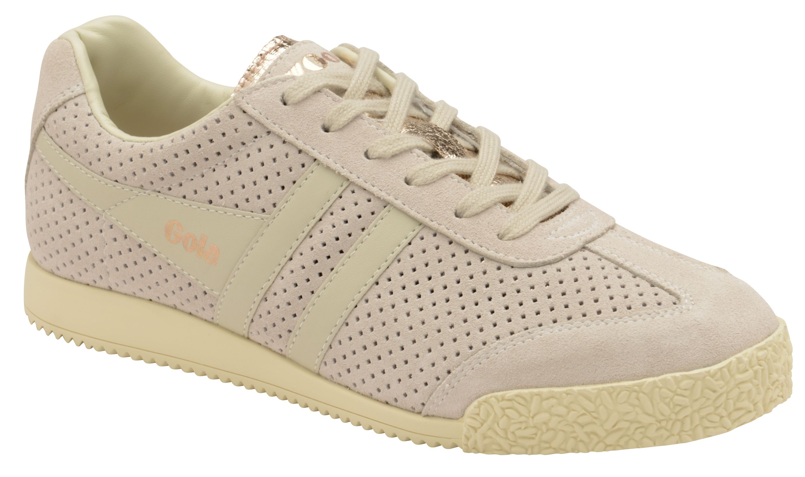 Gola Harrier Glimmer Suede Trainers, Rose Gold