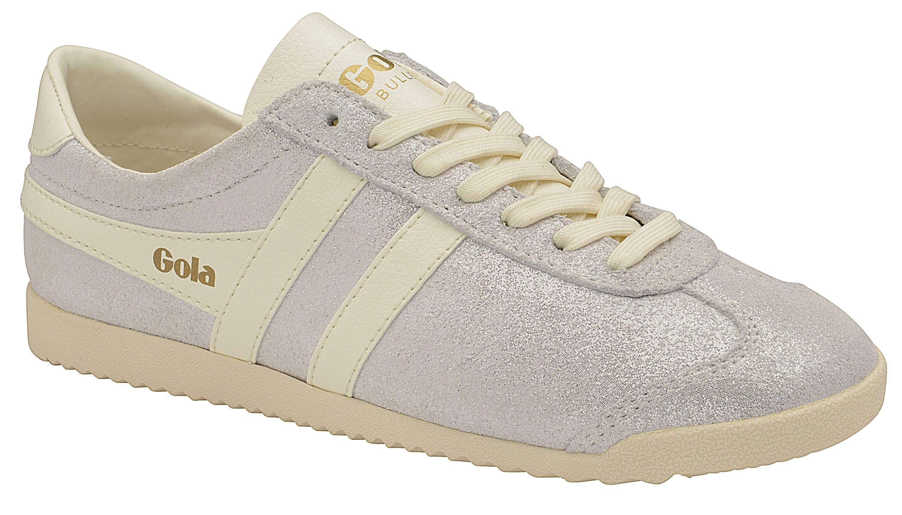 Gola Bullet Glitter Lace Up Trainers, Off White
