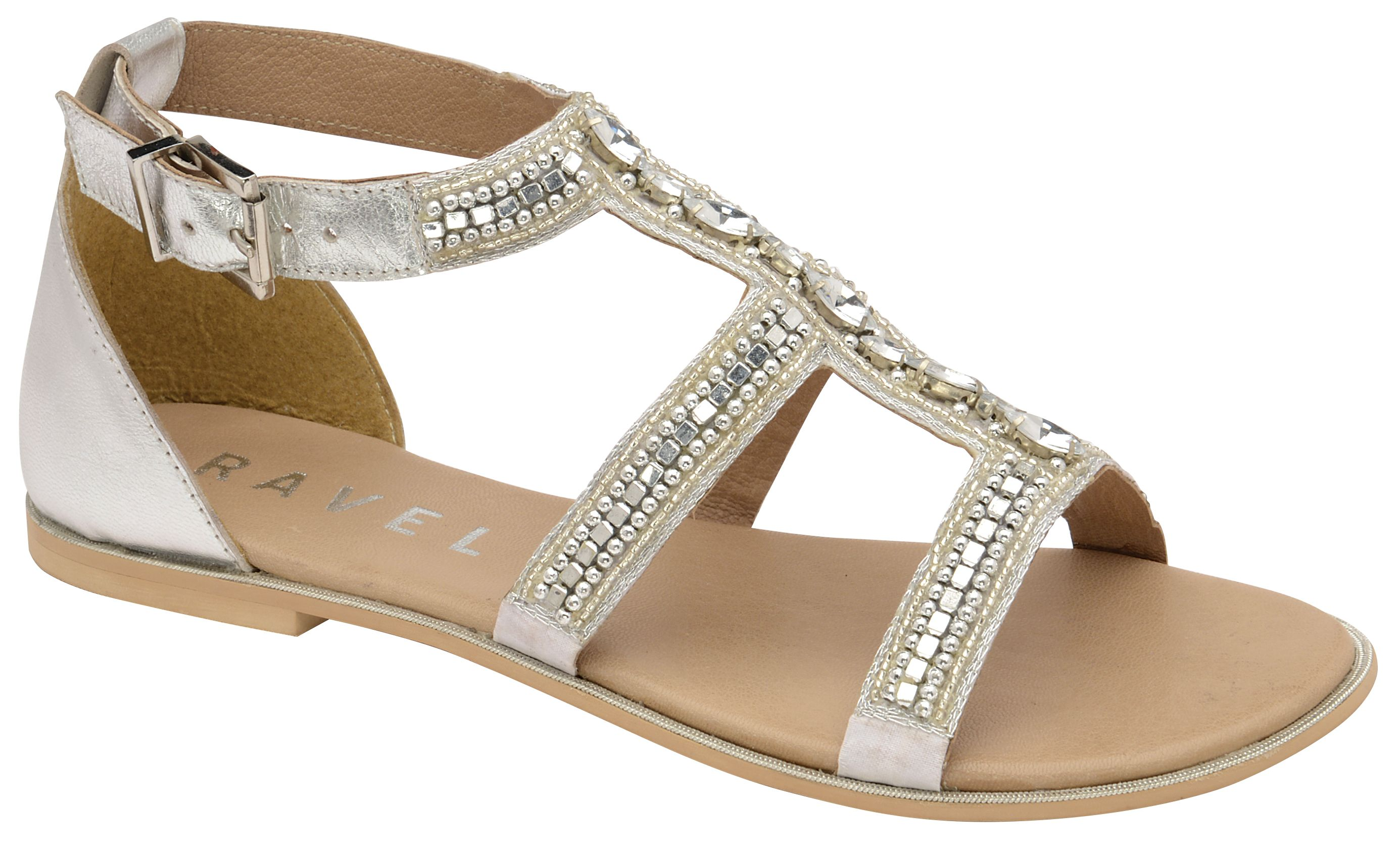 Ravel Burnaby Ankle Strap Sandals, Silverlic Silver
