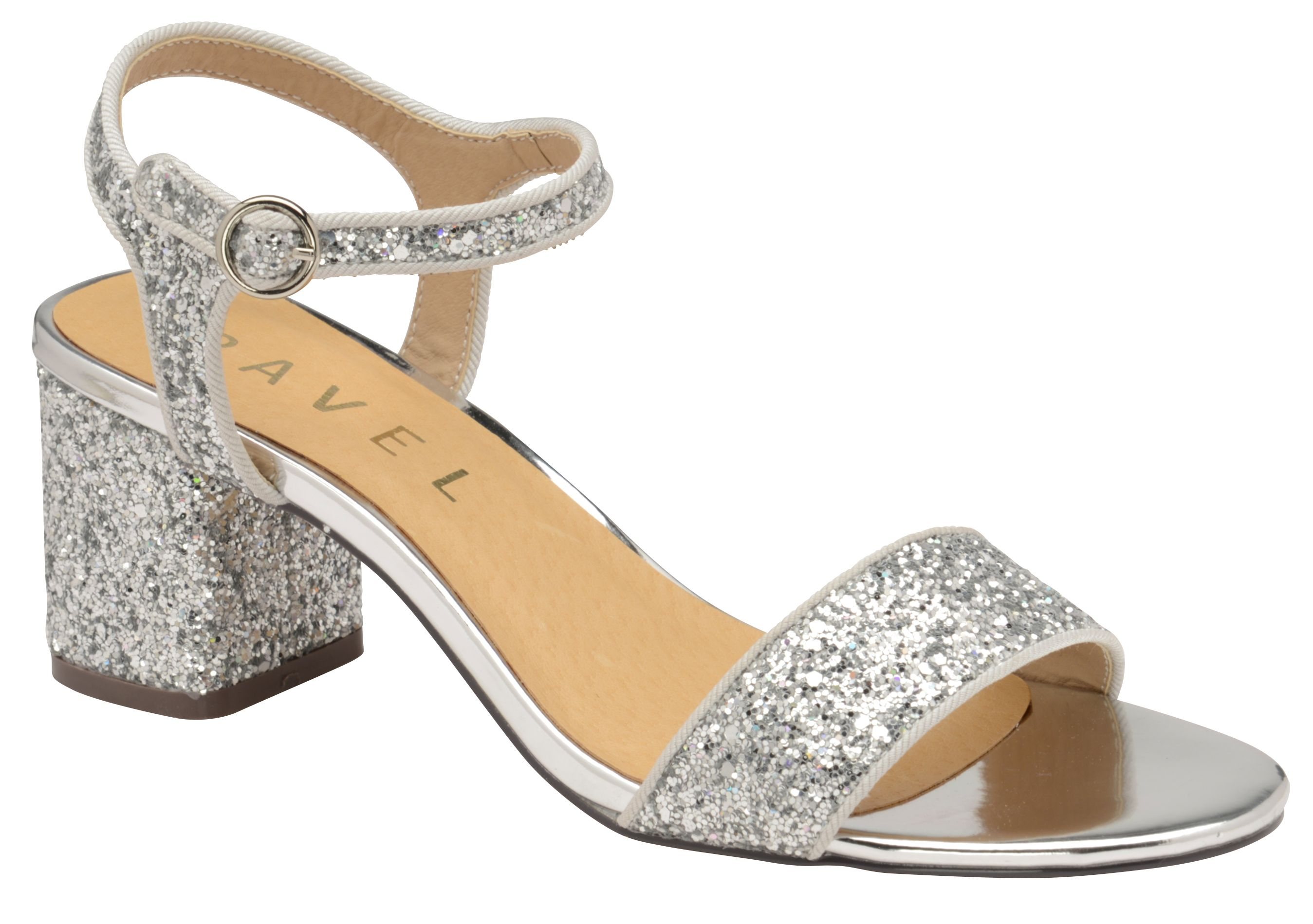 Ravel Gurley Heeled Sandals, Silver Silverlic