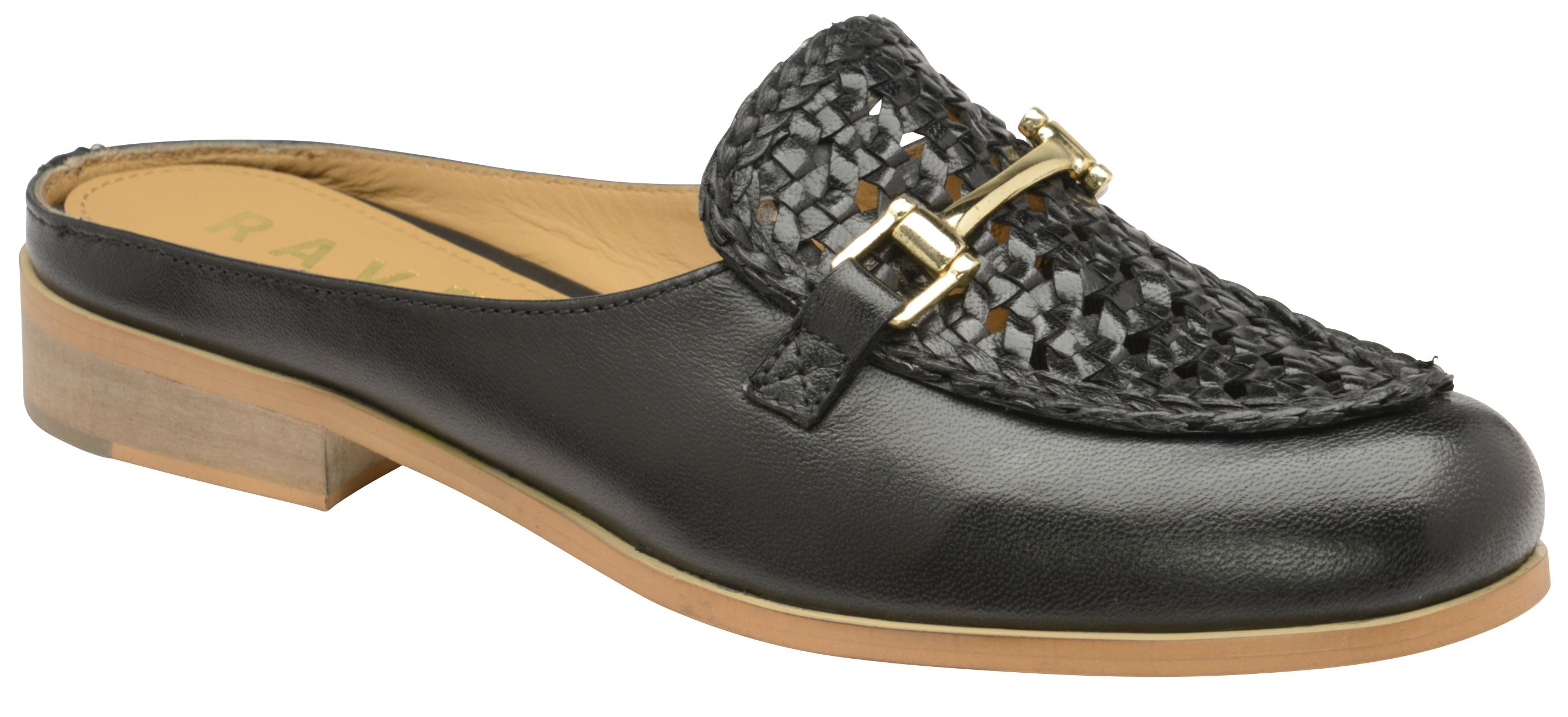 Ravel Axis Backless Loafers, Black Leather