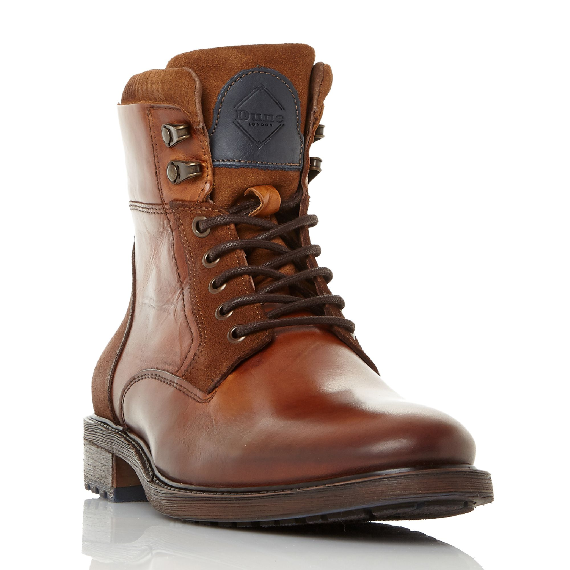 Click to view product details and reviews for Dune Colchester Lace Up Worker Boots Tan.