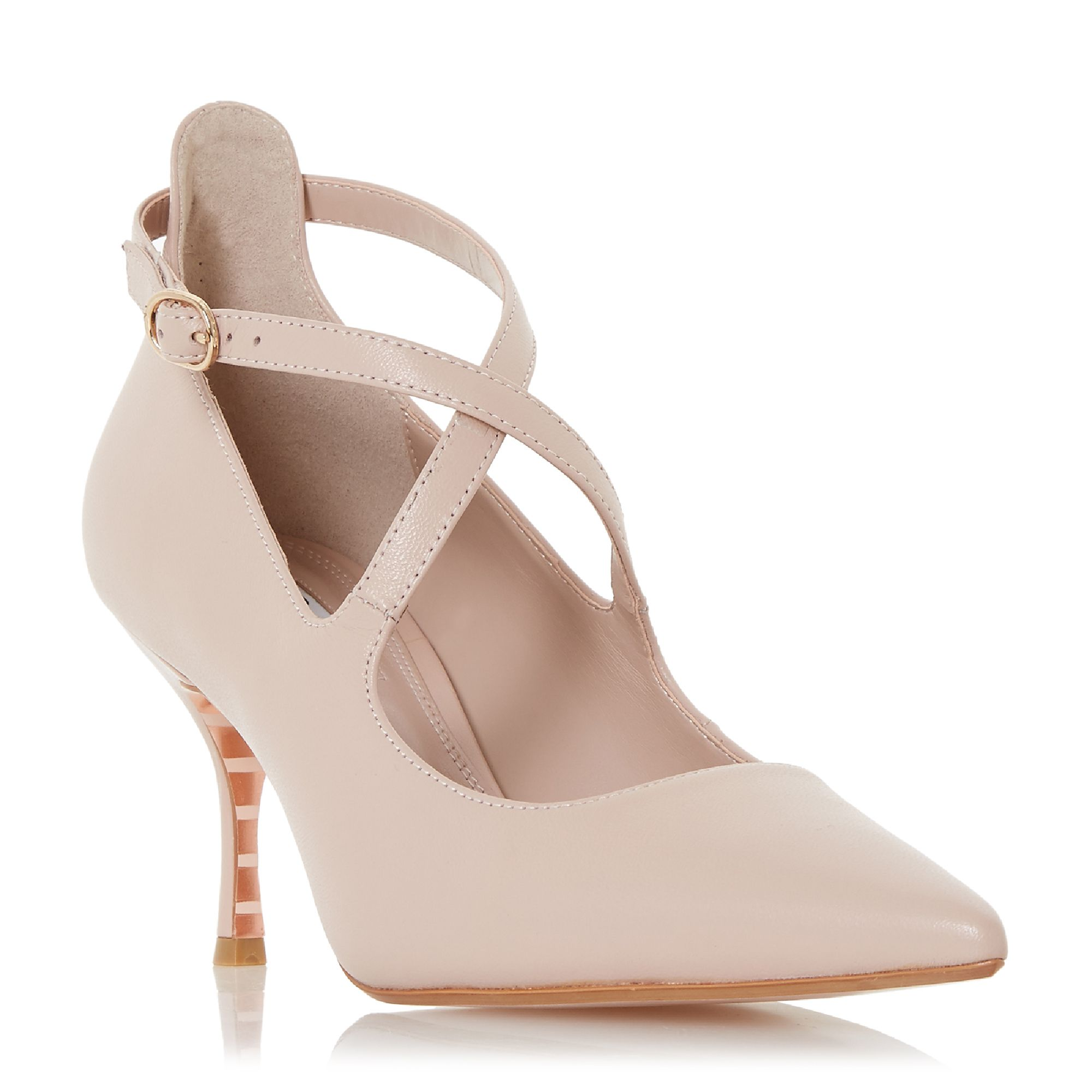 Dune Adline Cross Pointed Toe Court Shoes, Pink