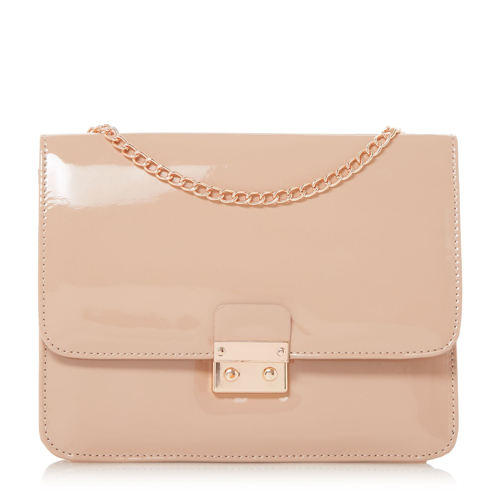 Head Over Heels Bess Square Lock Chain Strap Bag, Nude