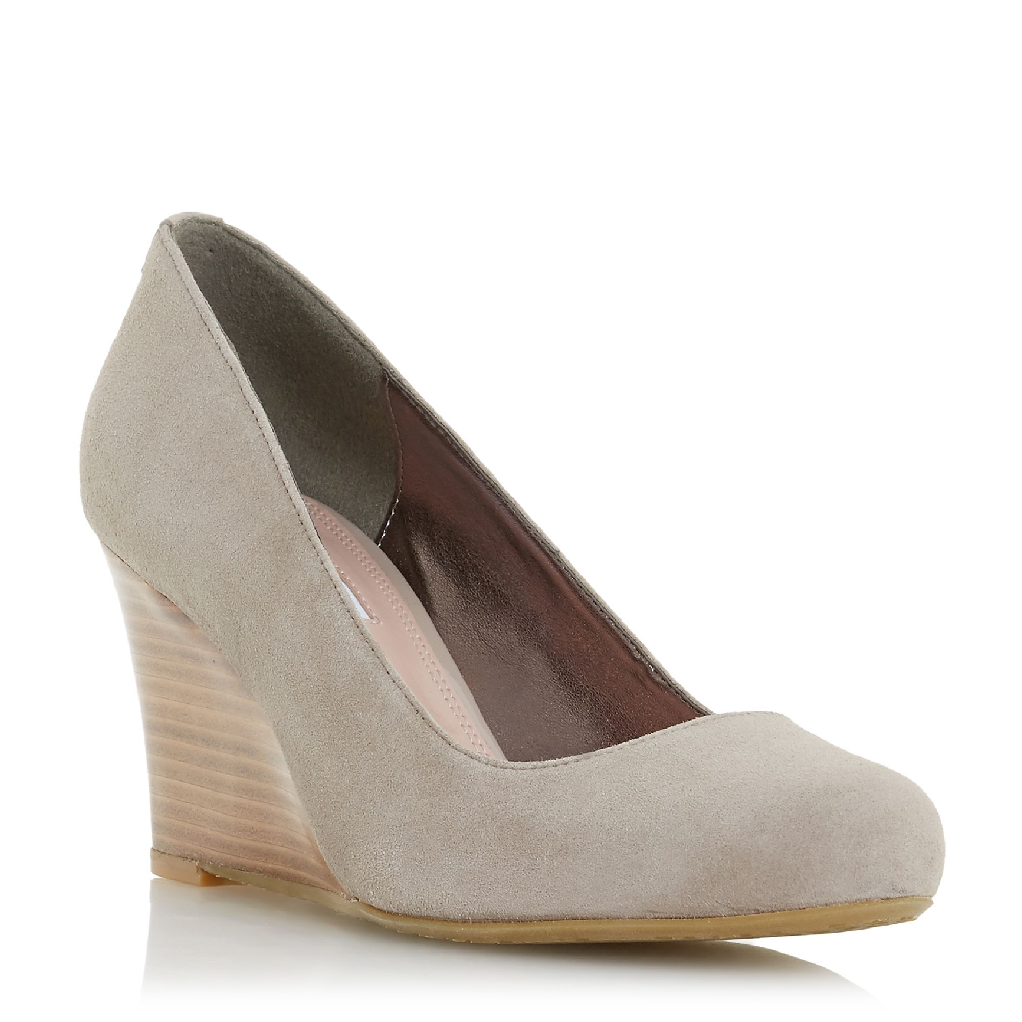 Dune Alixxe  Stacked Wedge Heel Court Shoes, Taupe