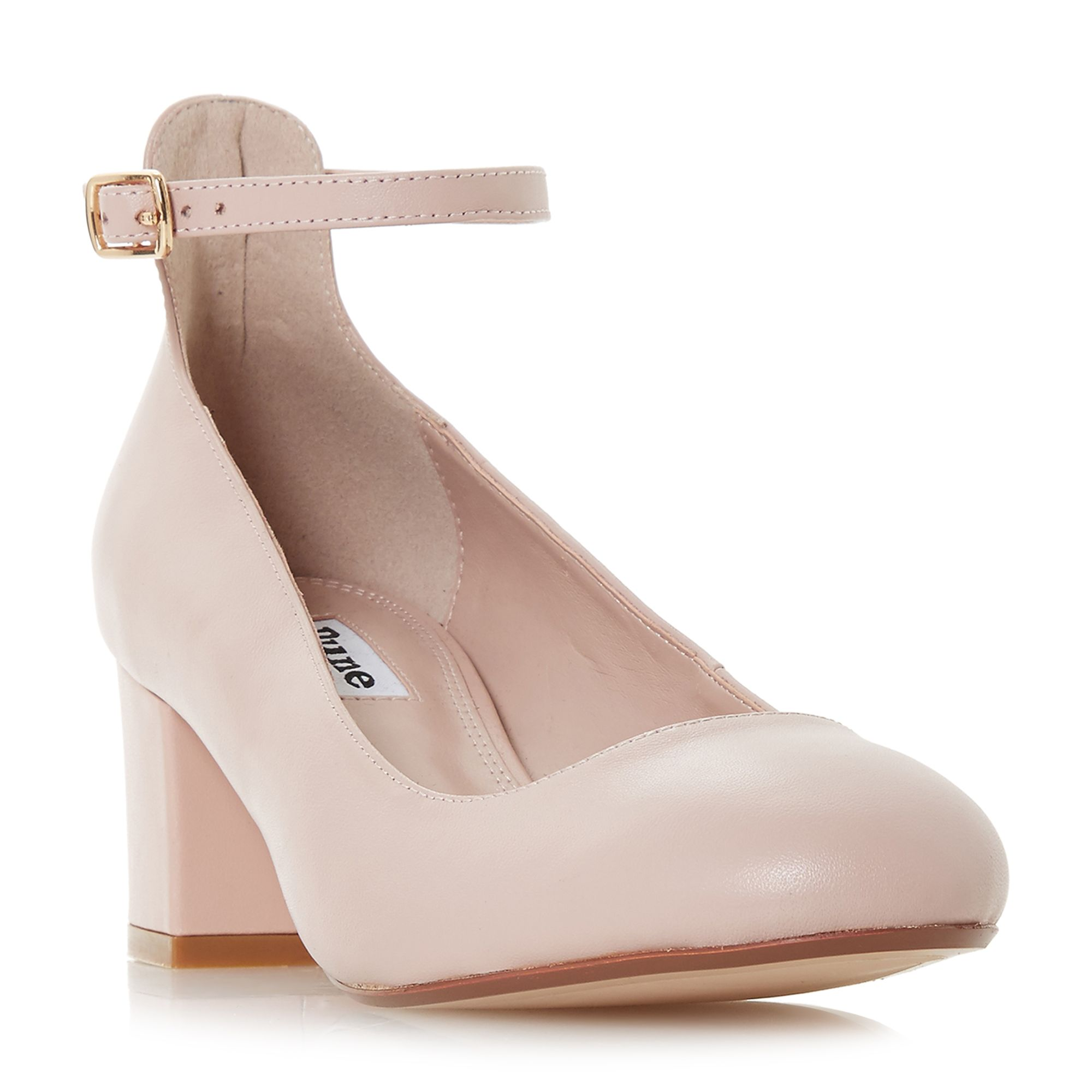 Dune Allie Block Heel Ankle Strap Court Shoes, Pink