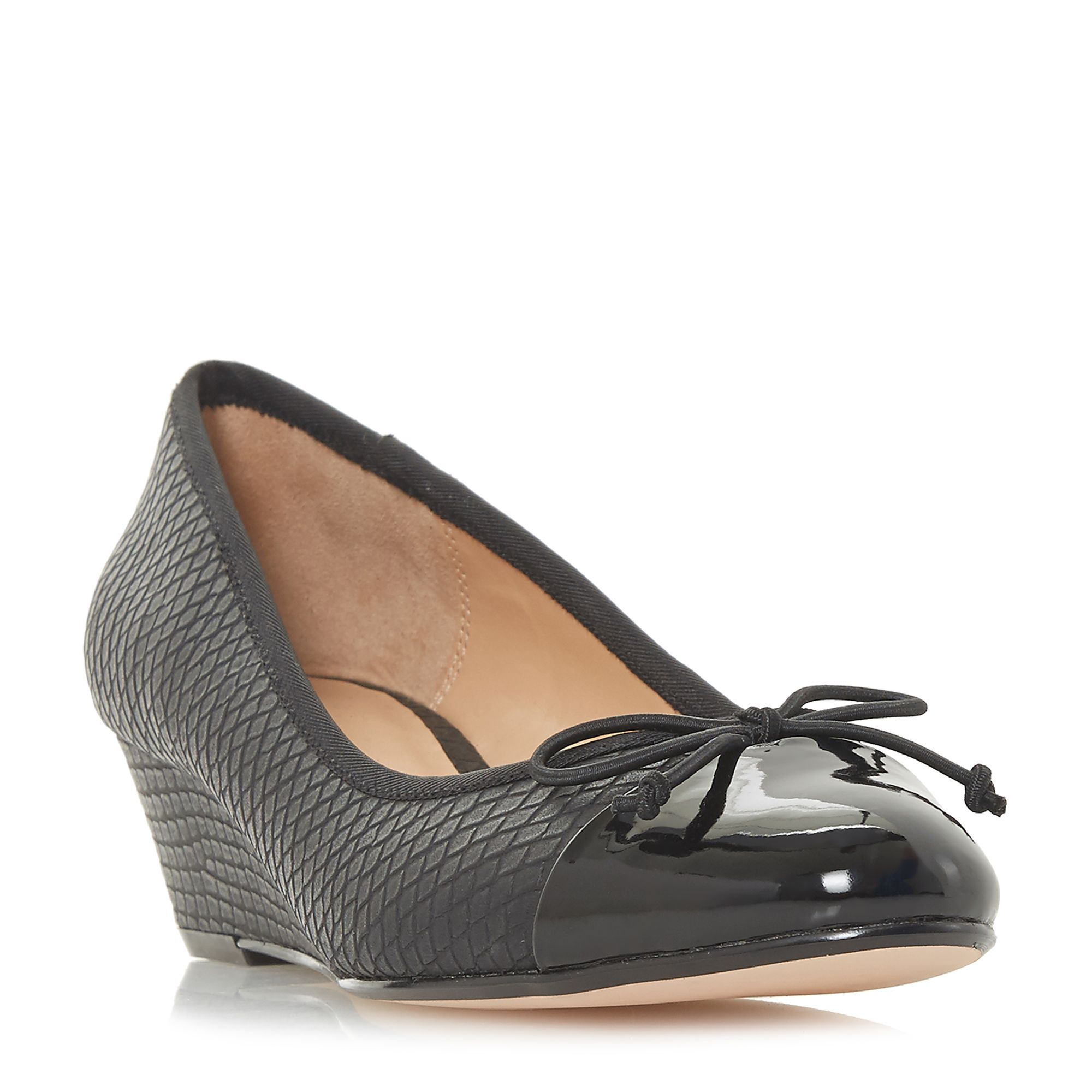 Linea Alissy Reptile Wedge Court Shoes, Black