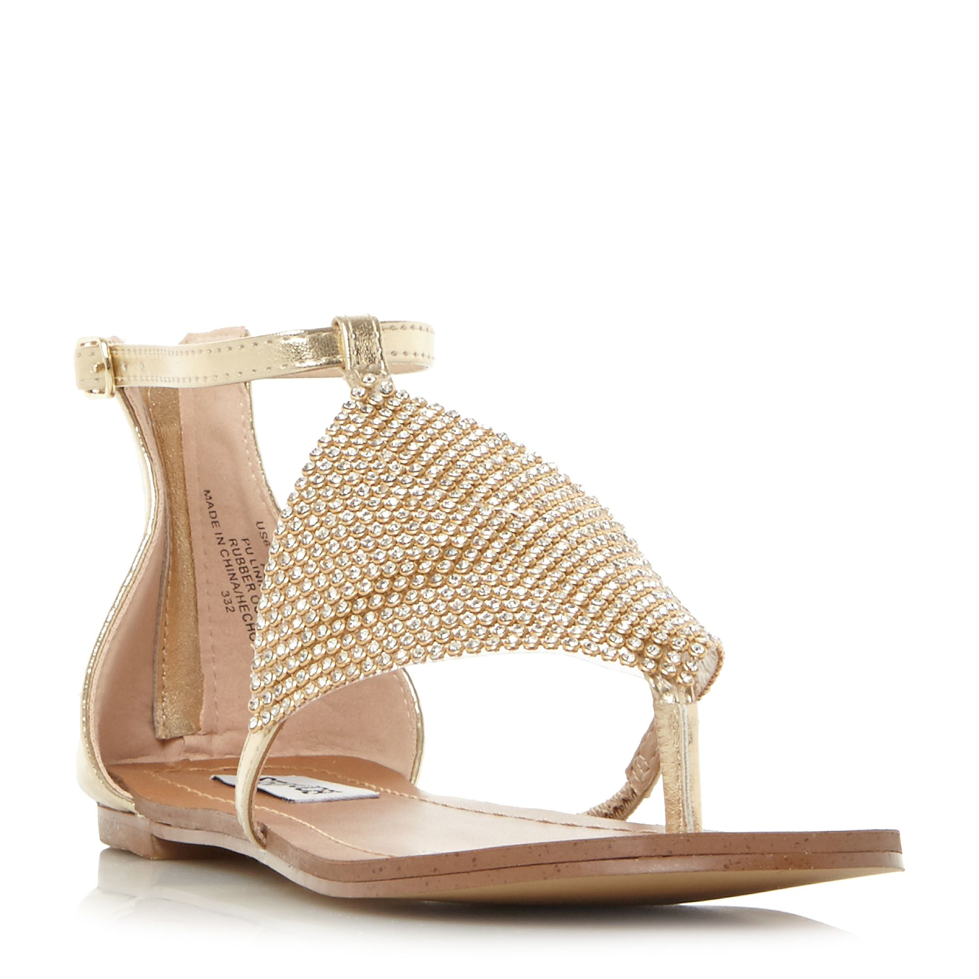 Steve Madden Cord Sm Diamante Chain Mail Flat Shoes, Gold