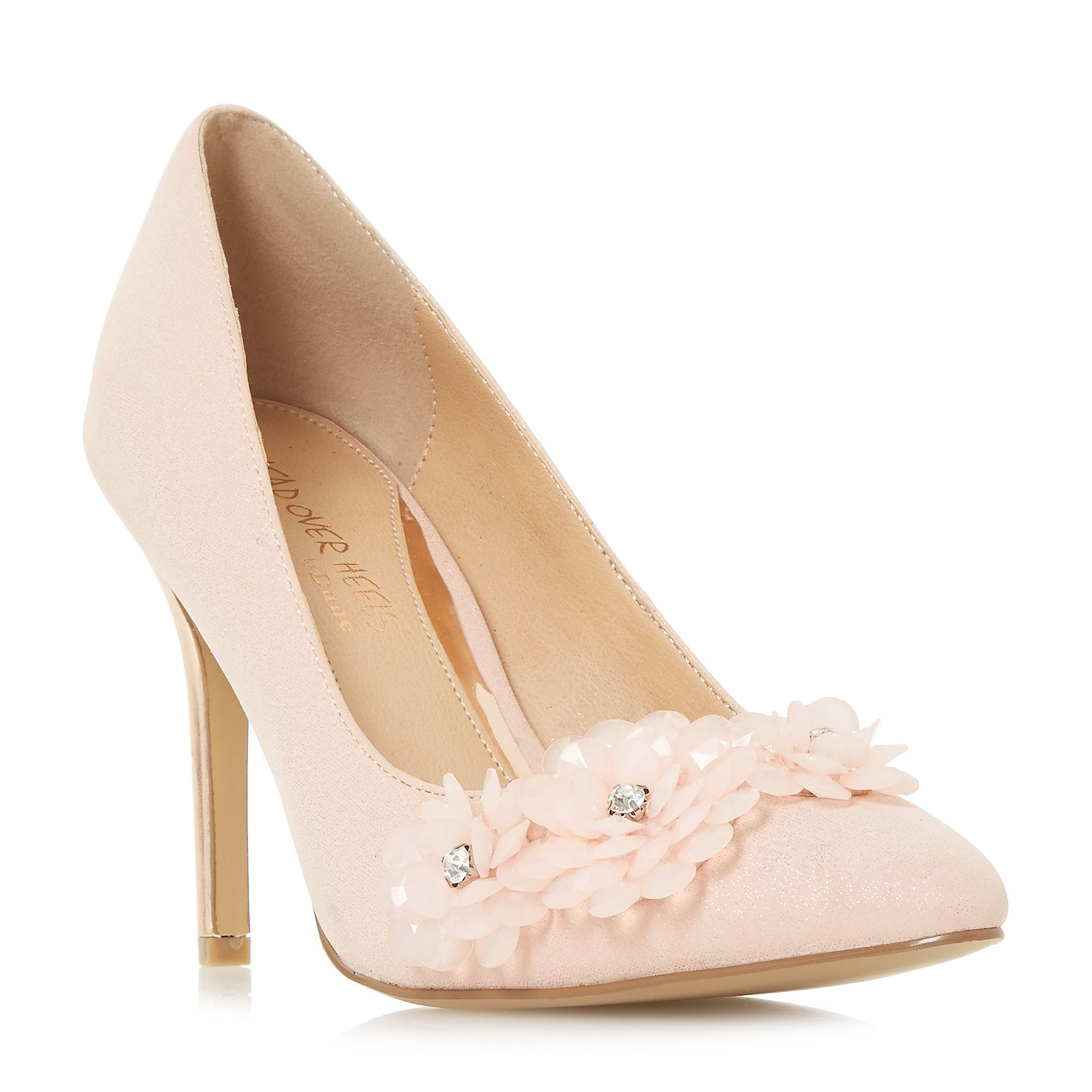 Head Over Heels Ayria Flower Encrusted Court Shoes, Nude