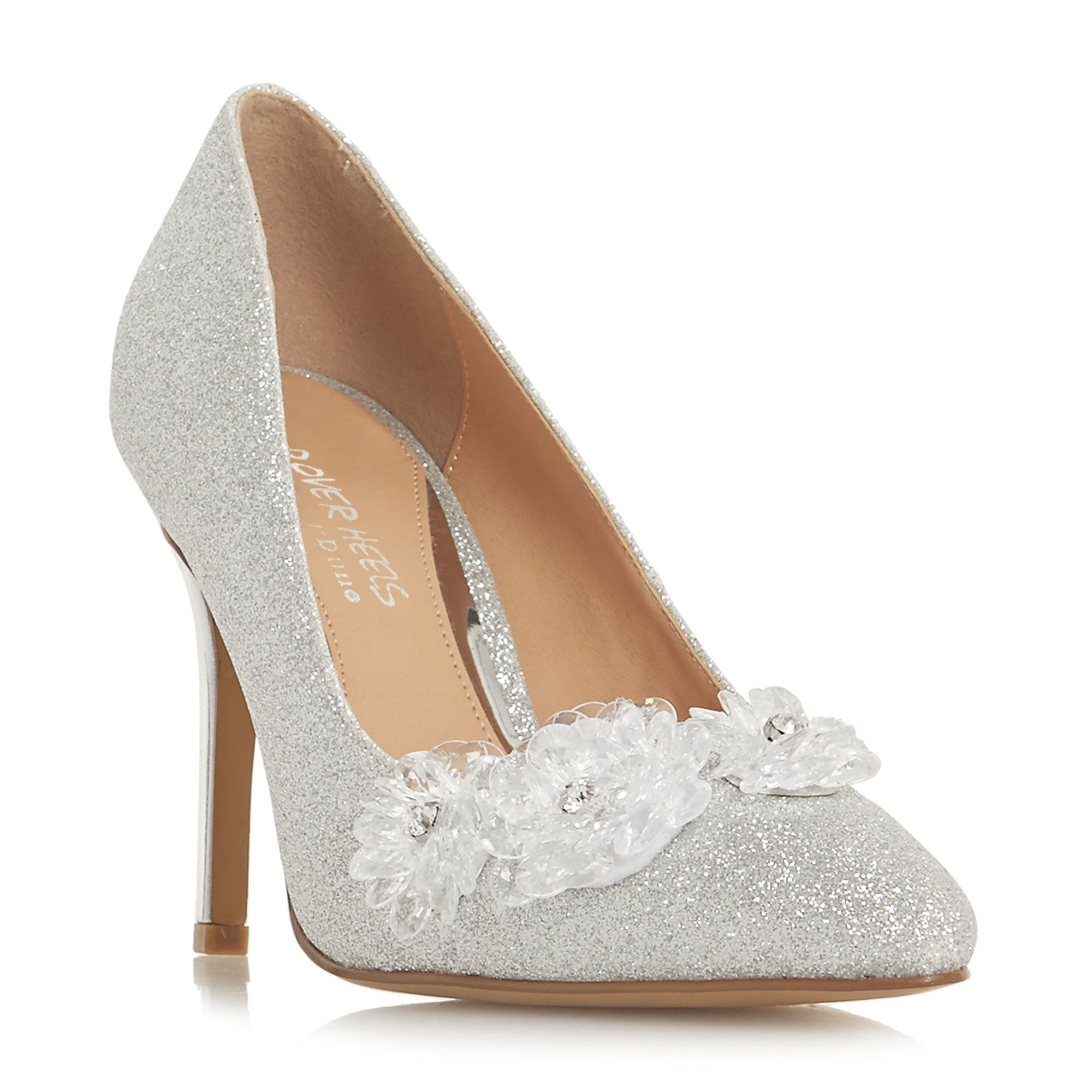 Head Over Heels Ayria Flower Encrusted Court Shoes, Silver