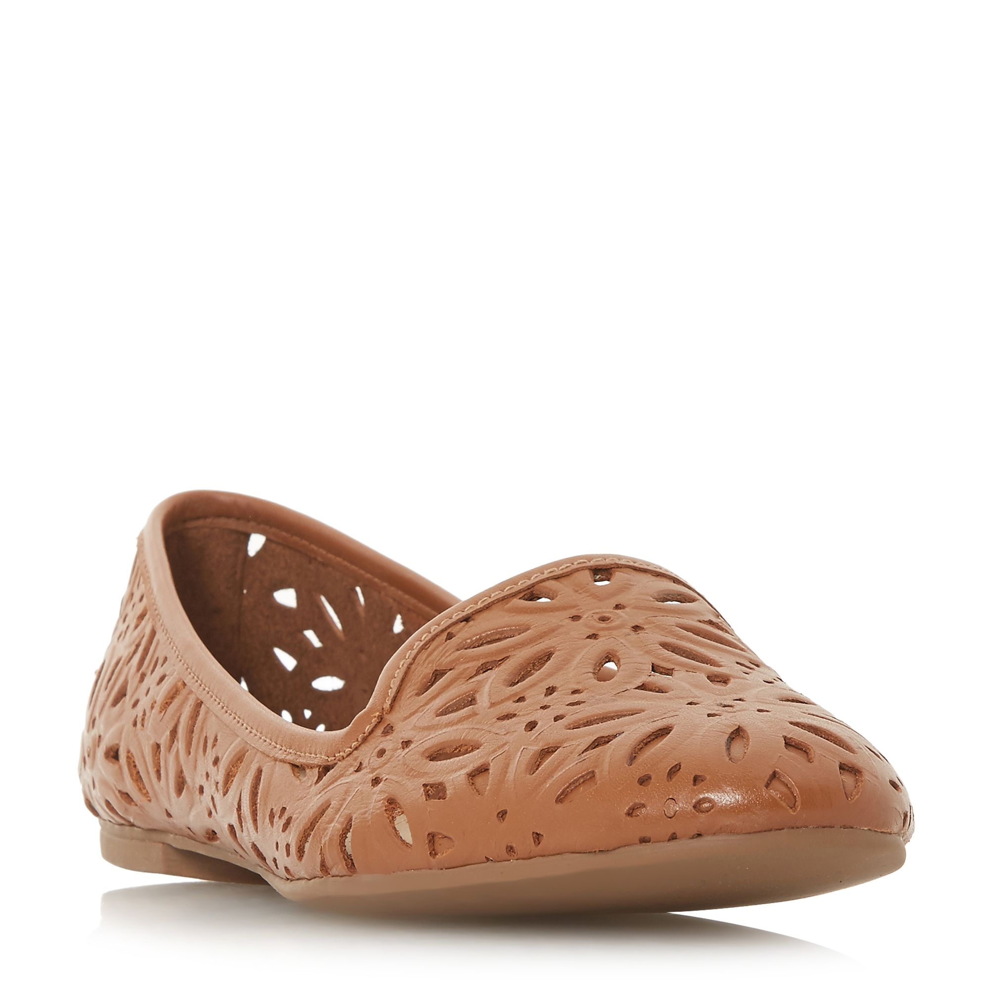 Dune Galatia Floral Laser Cut Slipper Pump Shoes, Tan