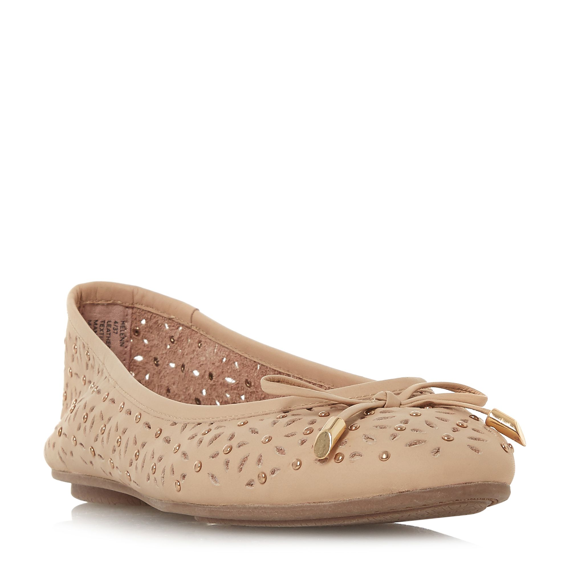Dune Helenn Floral Laser Cut Ballet Pump Shoes, Nude