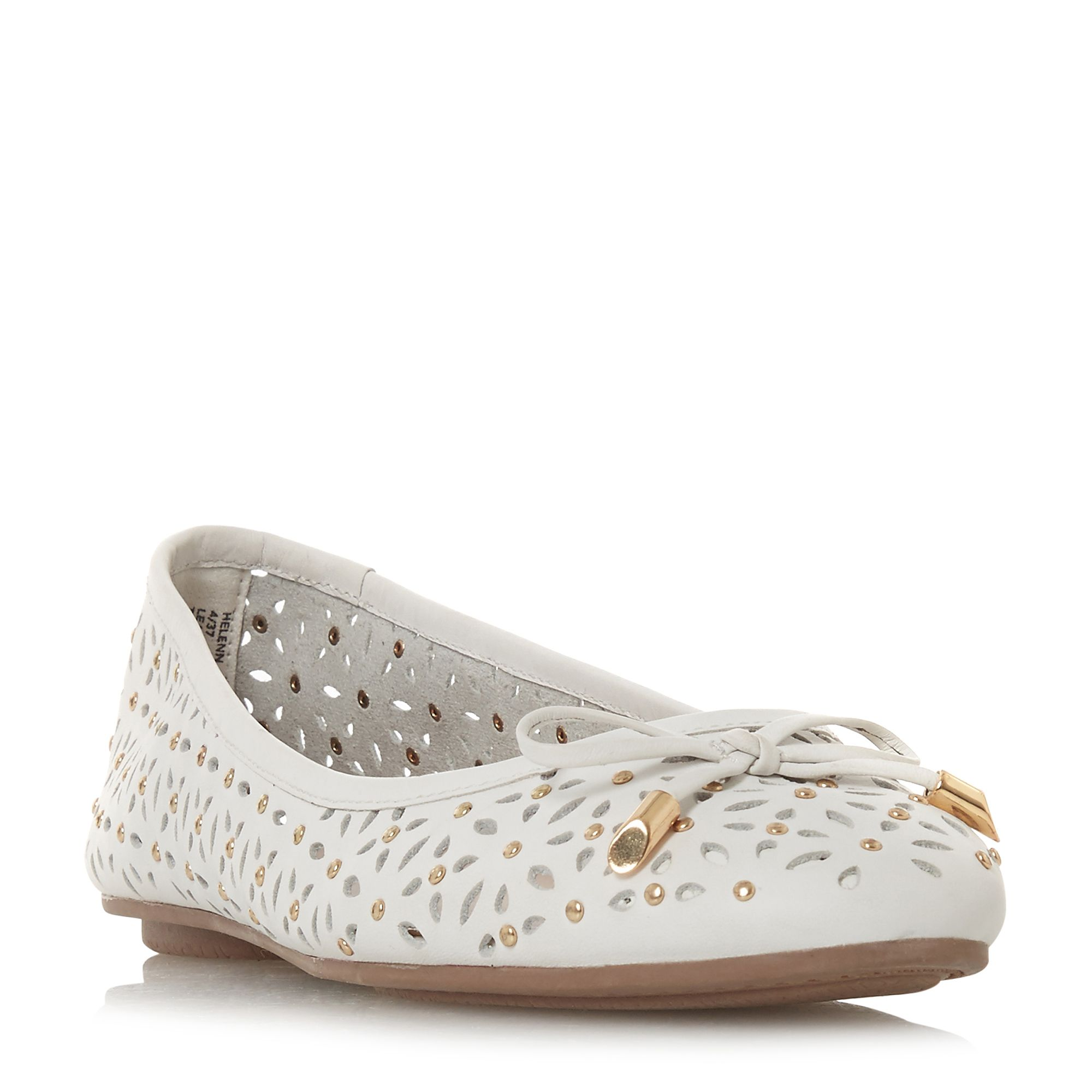 Dune Helenn Floral Laser Cut Ballet Pump Shoes, White