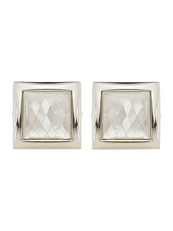 Mother of pearl diamond square cufflink