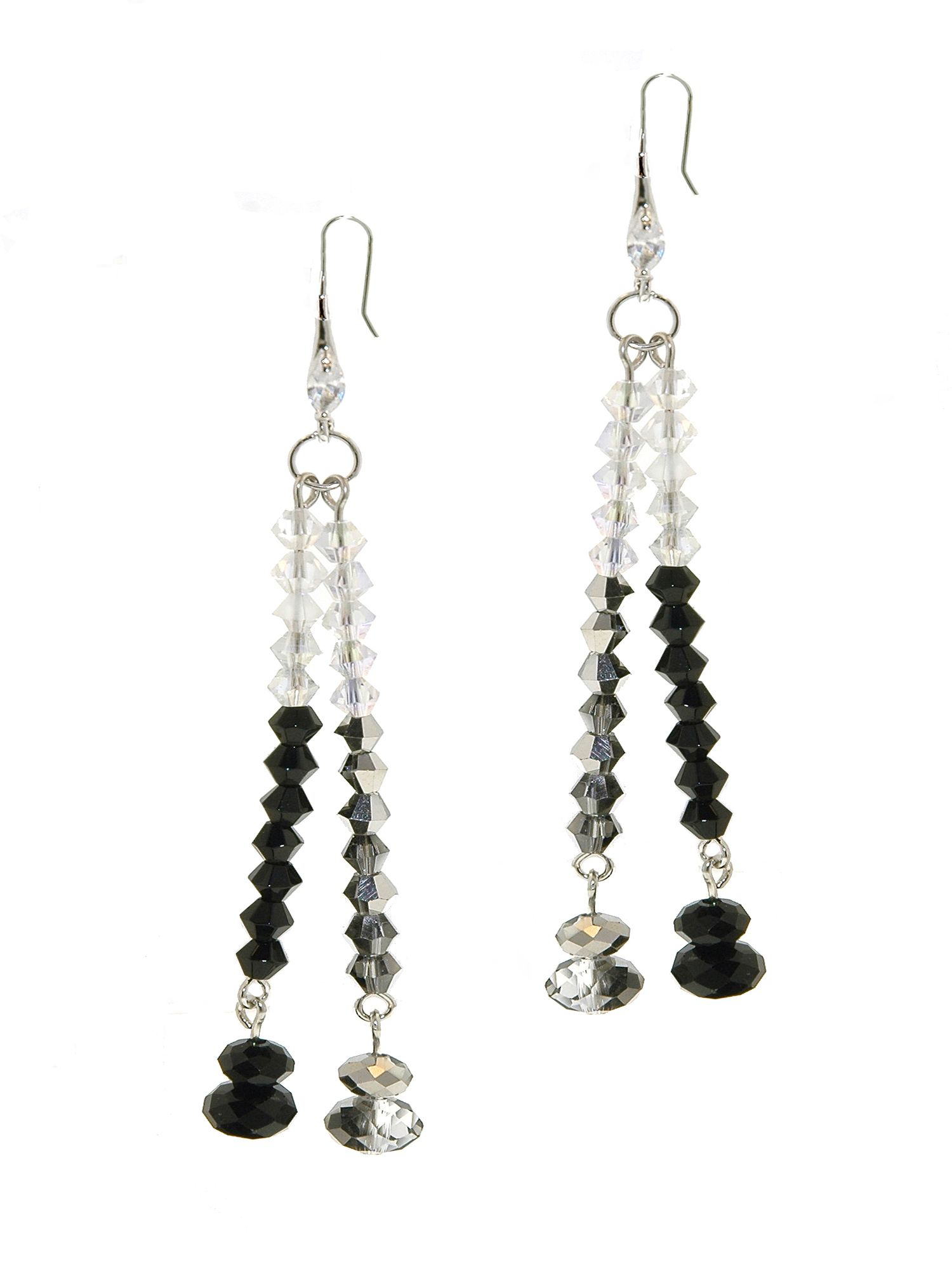 1928 Jet Hematite & AB Crystal Earrings, N/A