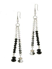 1928 Jet Hematite & AB Crystal Earrings