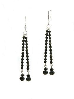 Jet Crystal Drop Earrings