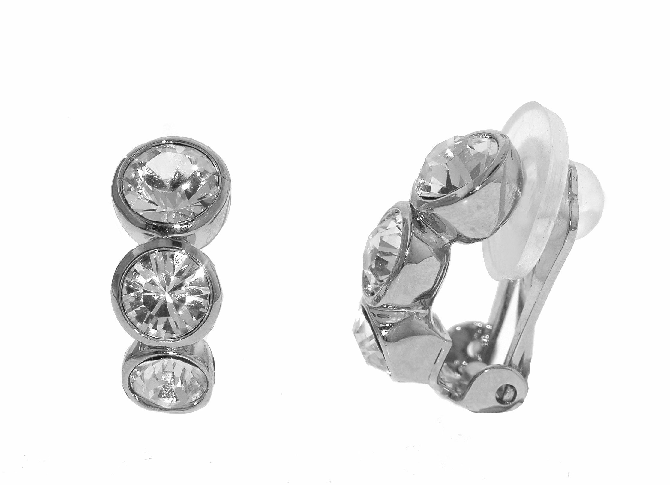 lilli and koe rhodium graduated crystals clip earrings