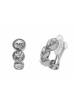 Rhodium graduated crystals clip earrings