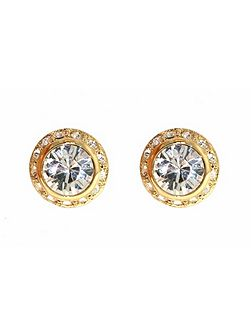 Gold round surround crystal earrings