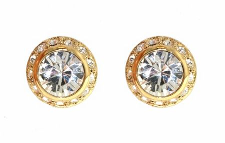 Lilli & Koe Gold round surround crystal earrings