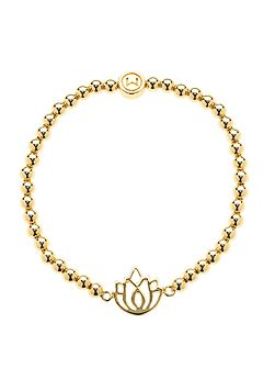 Gold ball lotus stretch bracelet
