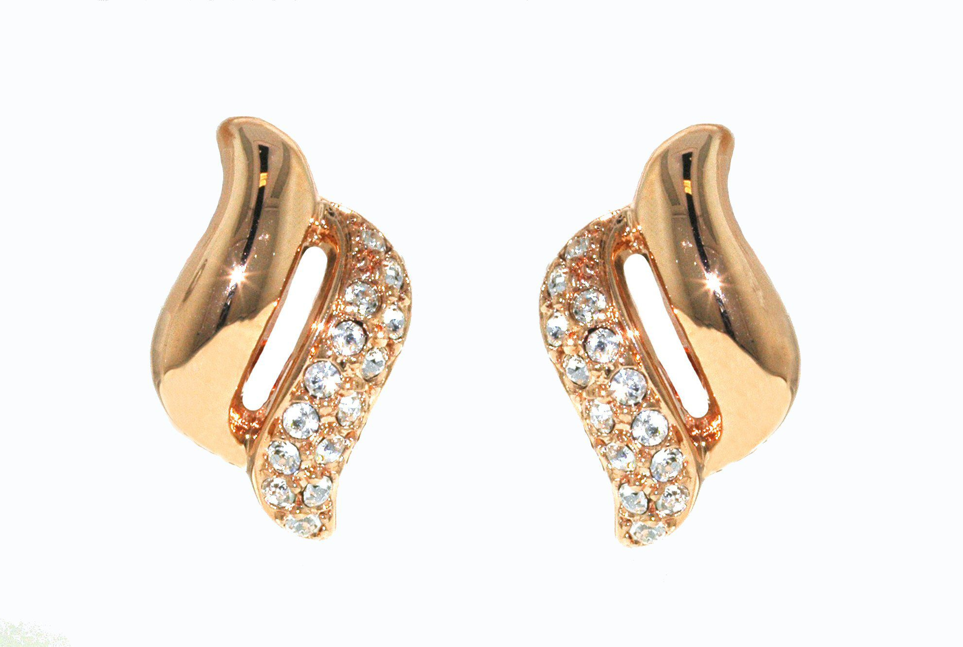 Rose gold & crystal wave clip earrings