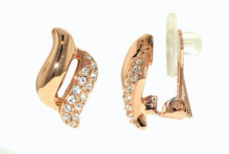 Lilli & Koe Rose gold & crystal wave clip earrings
