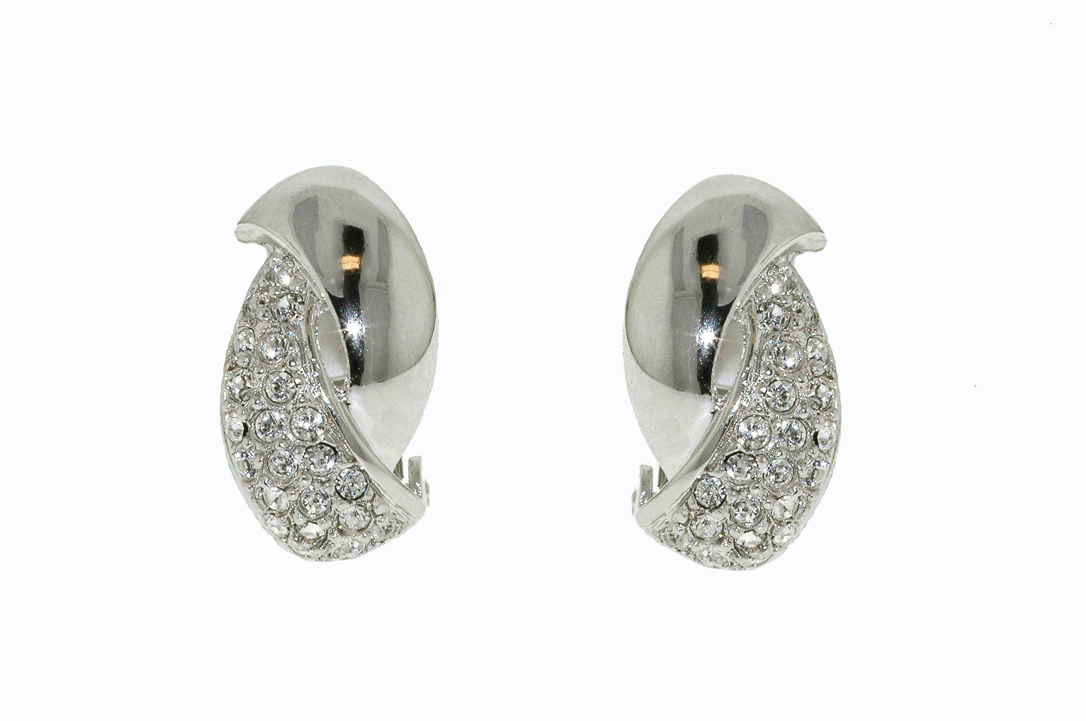 Rhodium & crystal curve clip earrings