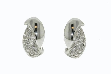 Lilli & Koe Rhodium & crystal curve clip earrings