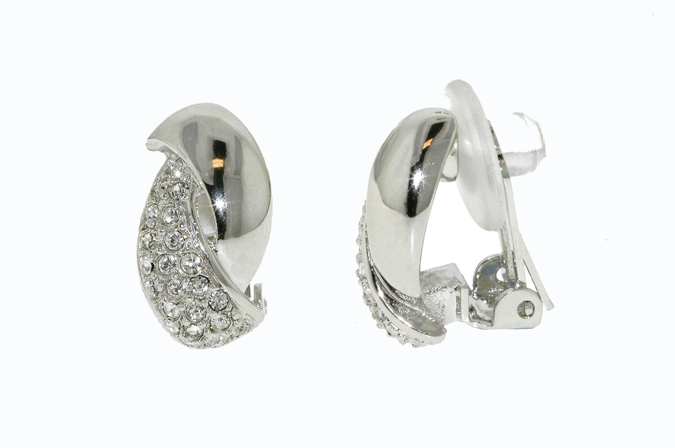 Rhodium & swarovski crystal curve clip earrings
